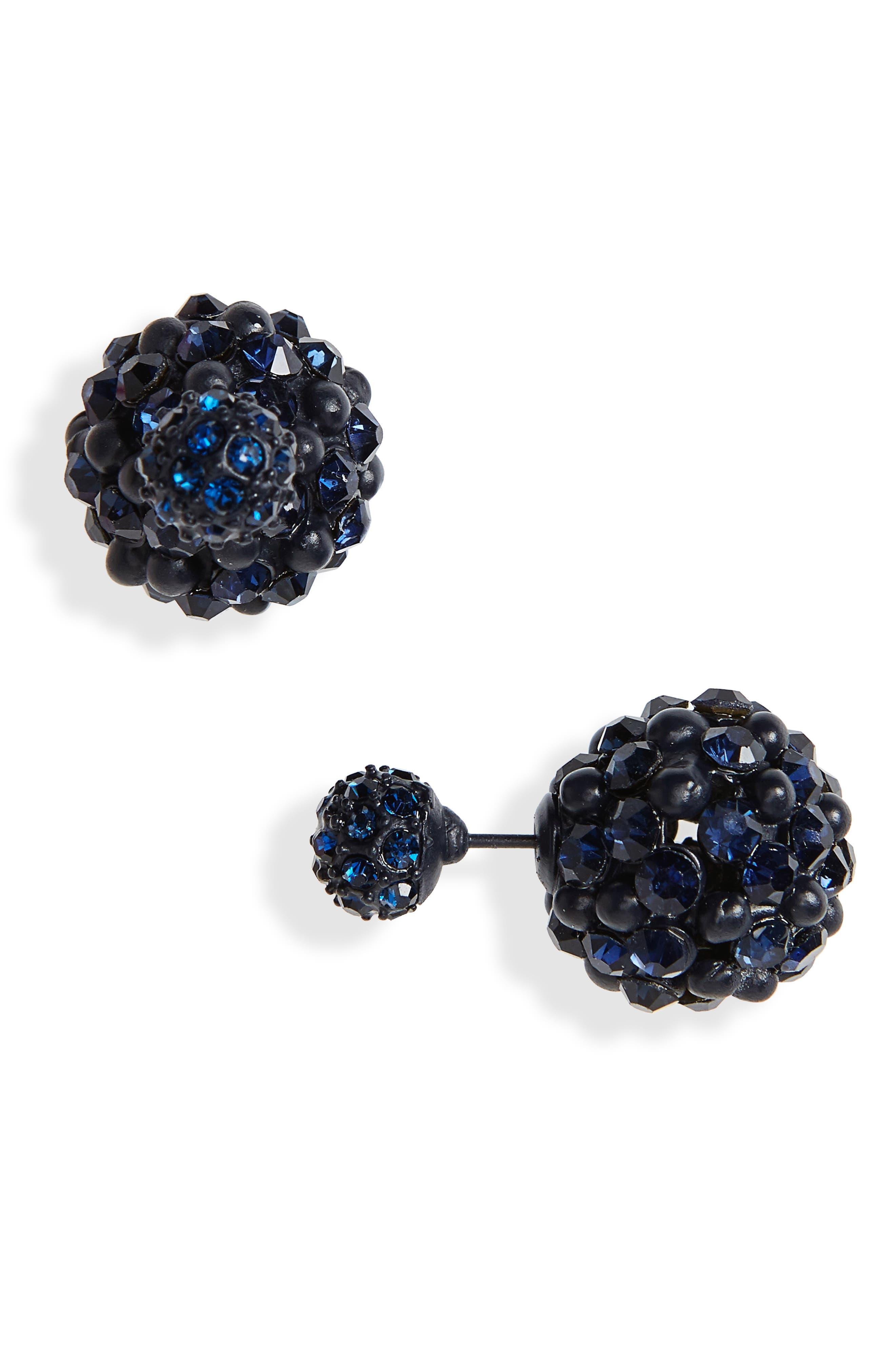 Crystal Ball Ear Jackets,                             Main thumbnail 1, color,                             Navy/ Black