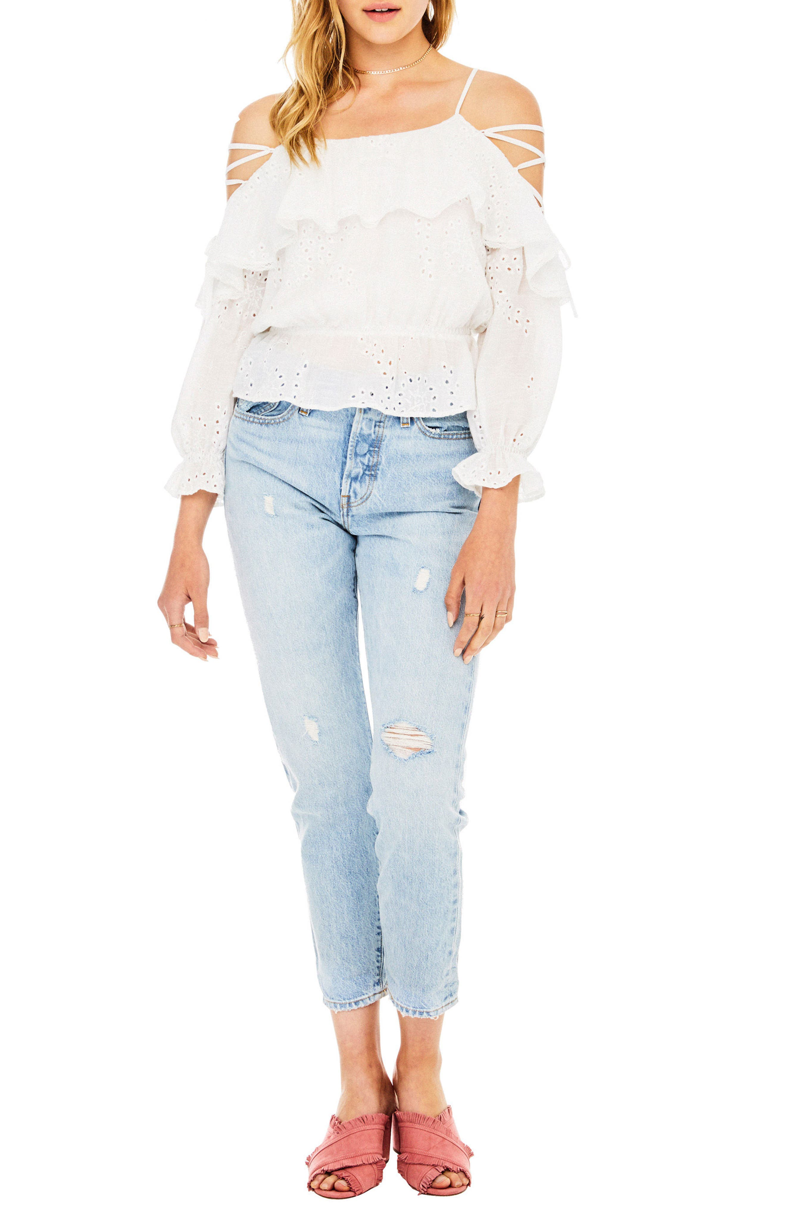 Kennedy Off the Shoulder Top,                             Main thumbnail 1, color,                             White