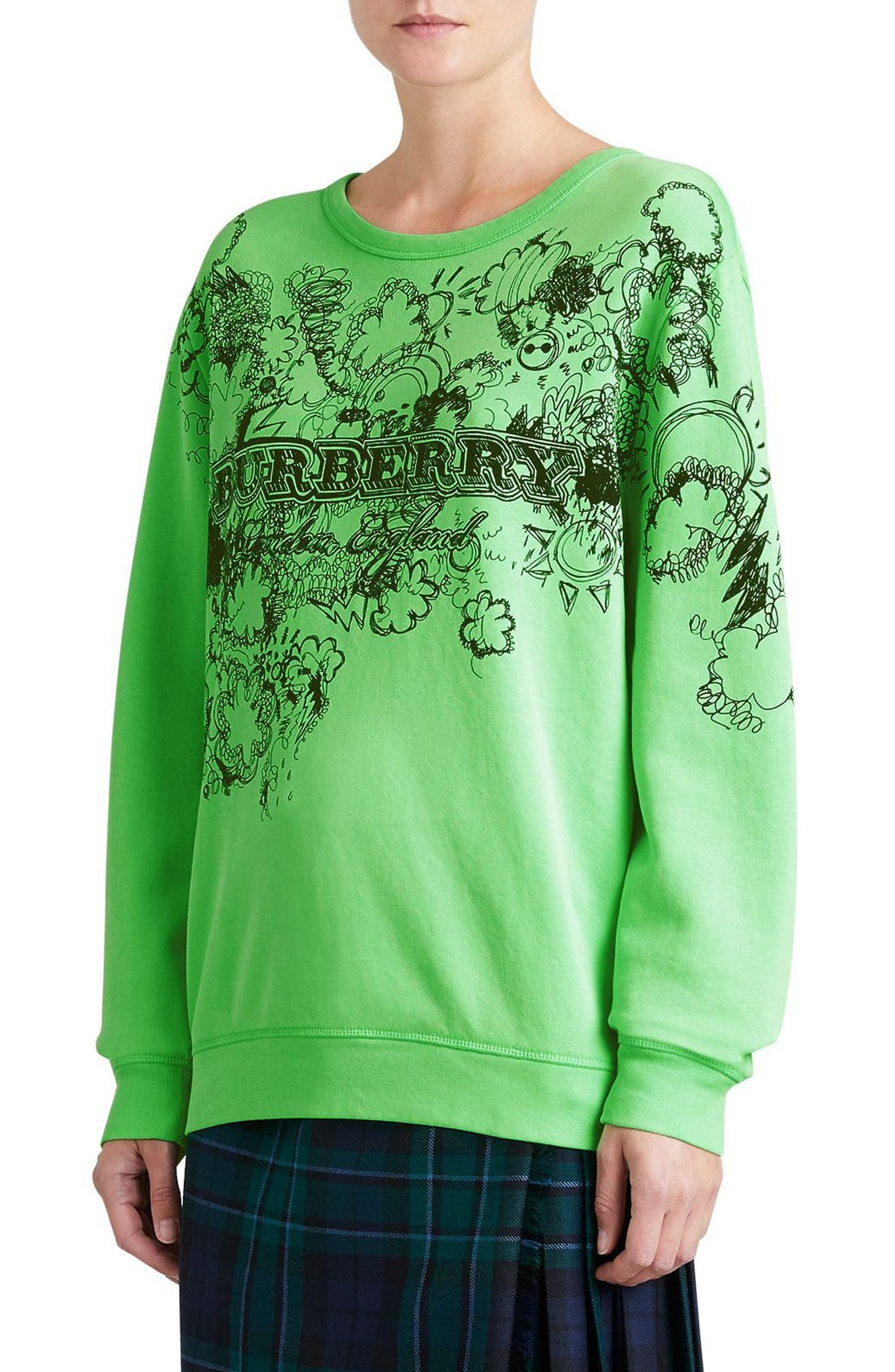 Madon Print Sweatshirt,                             Alternate thumbnail 4, color,                             Bright Apple Green