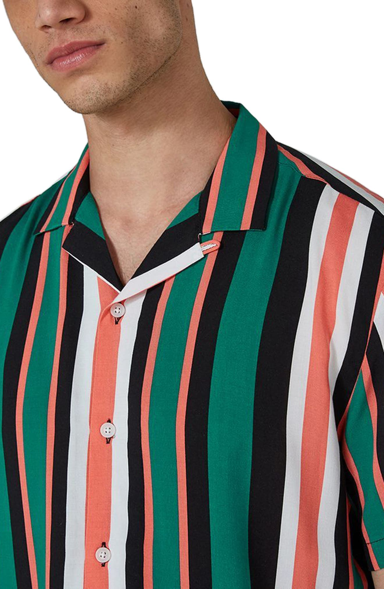Miami Stripe Revere Collar Shirt,                             Alternate thumbnail 3, color,                             Blue Multi