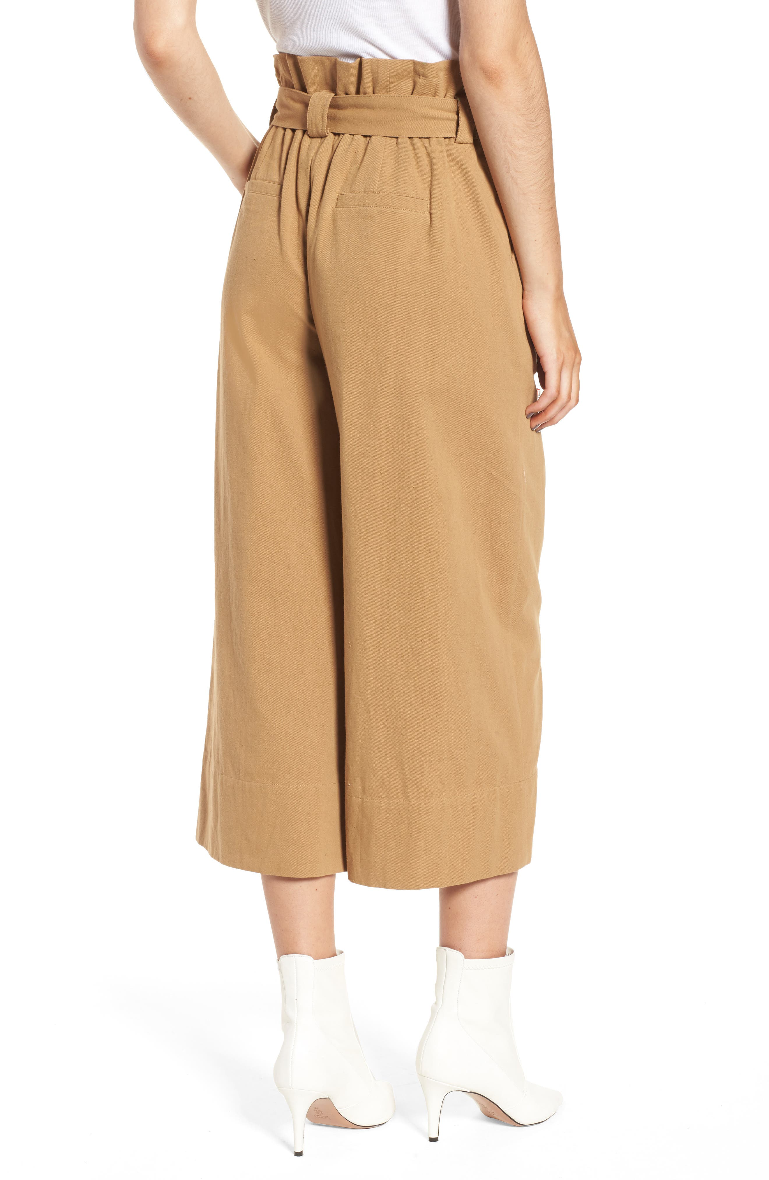 Paperbag Waist Crop Pants,                             Alternate thumbnail 2, color,                             Khaki
