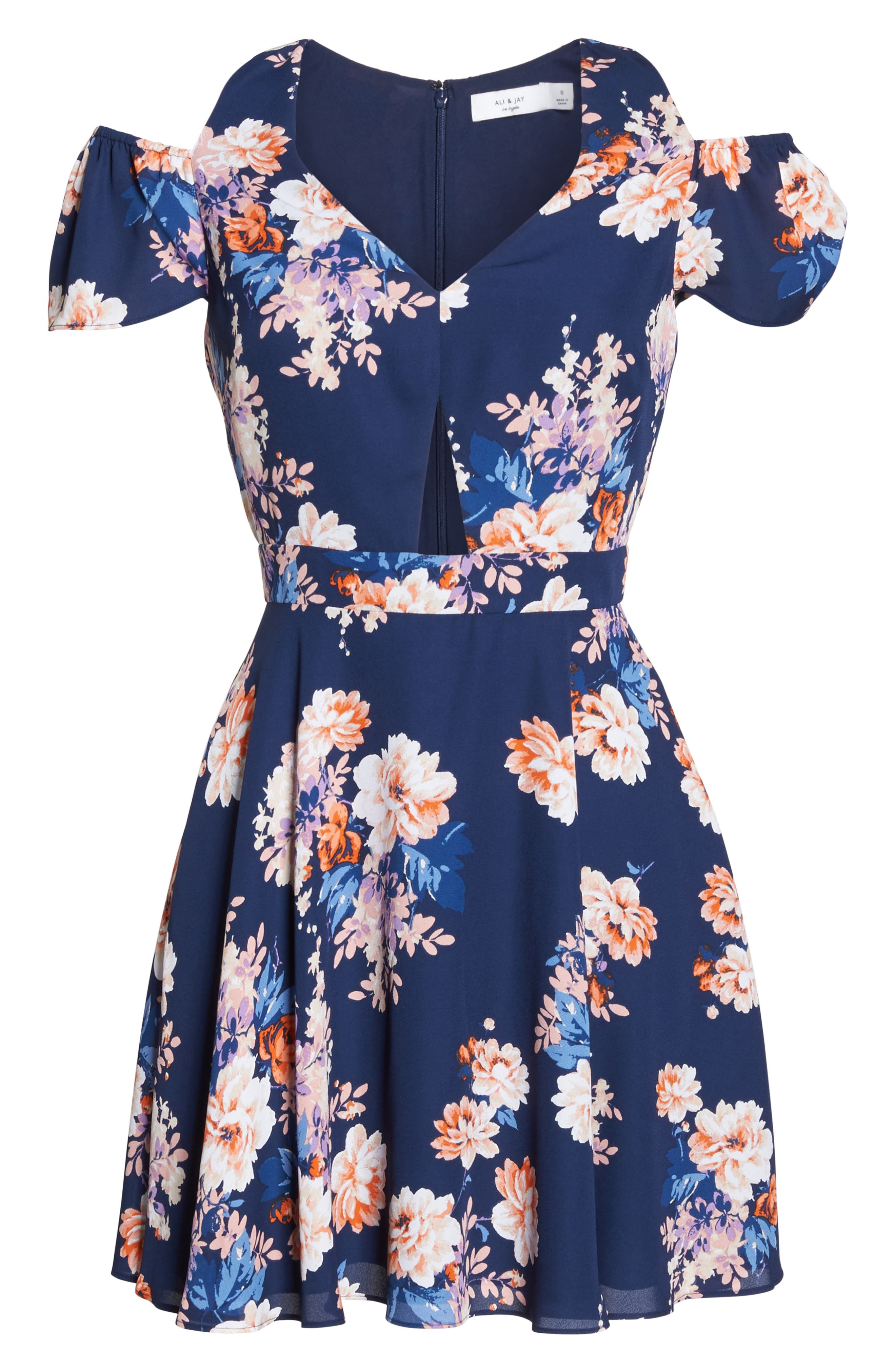 Chasing Butterflies Cold Shoulder Fit & Flare Dress,                             Alternate thumbnail 7, color,                             Navy Floral