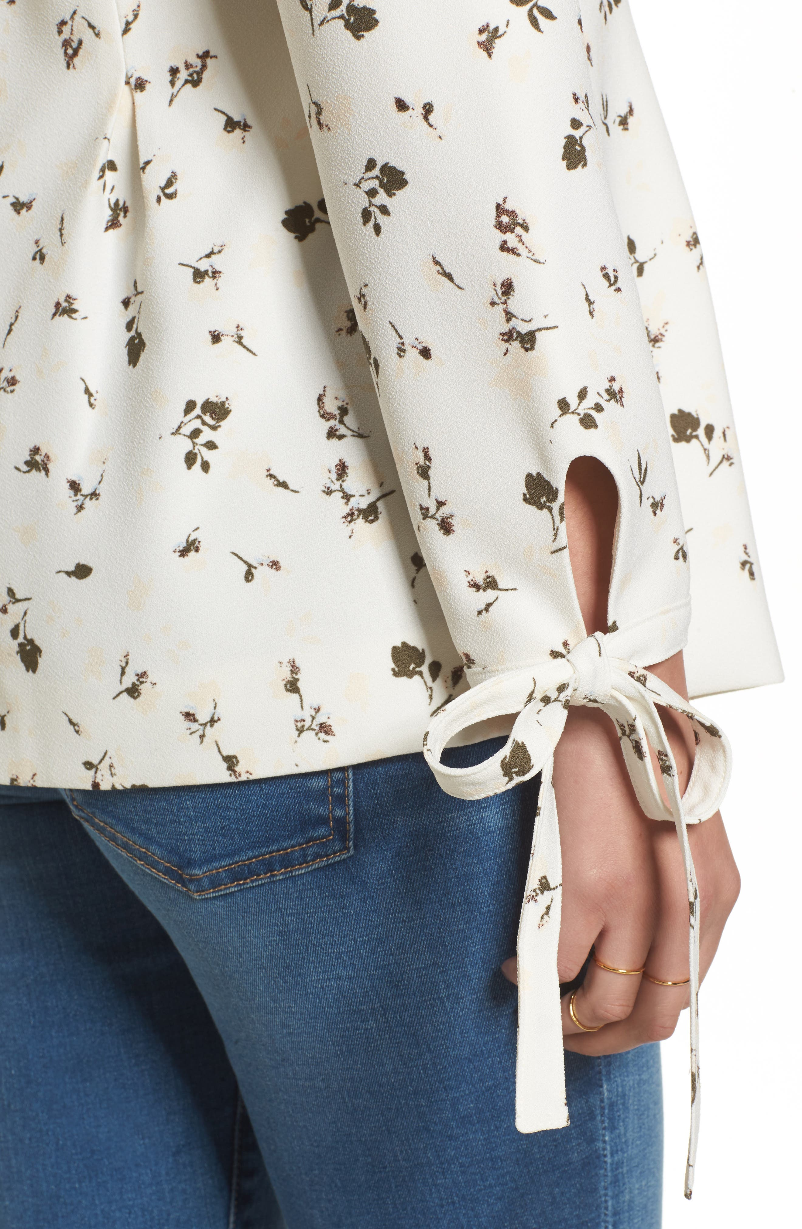 Tie Sleeve Blazer,                             Alternate thumbnail 4, color,                             Ivory Cotton Floral