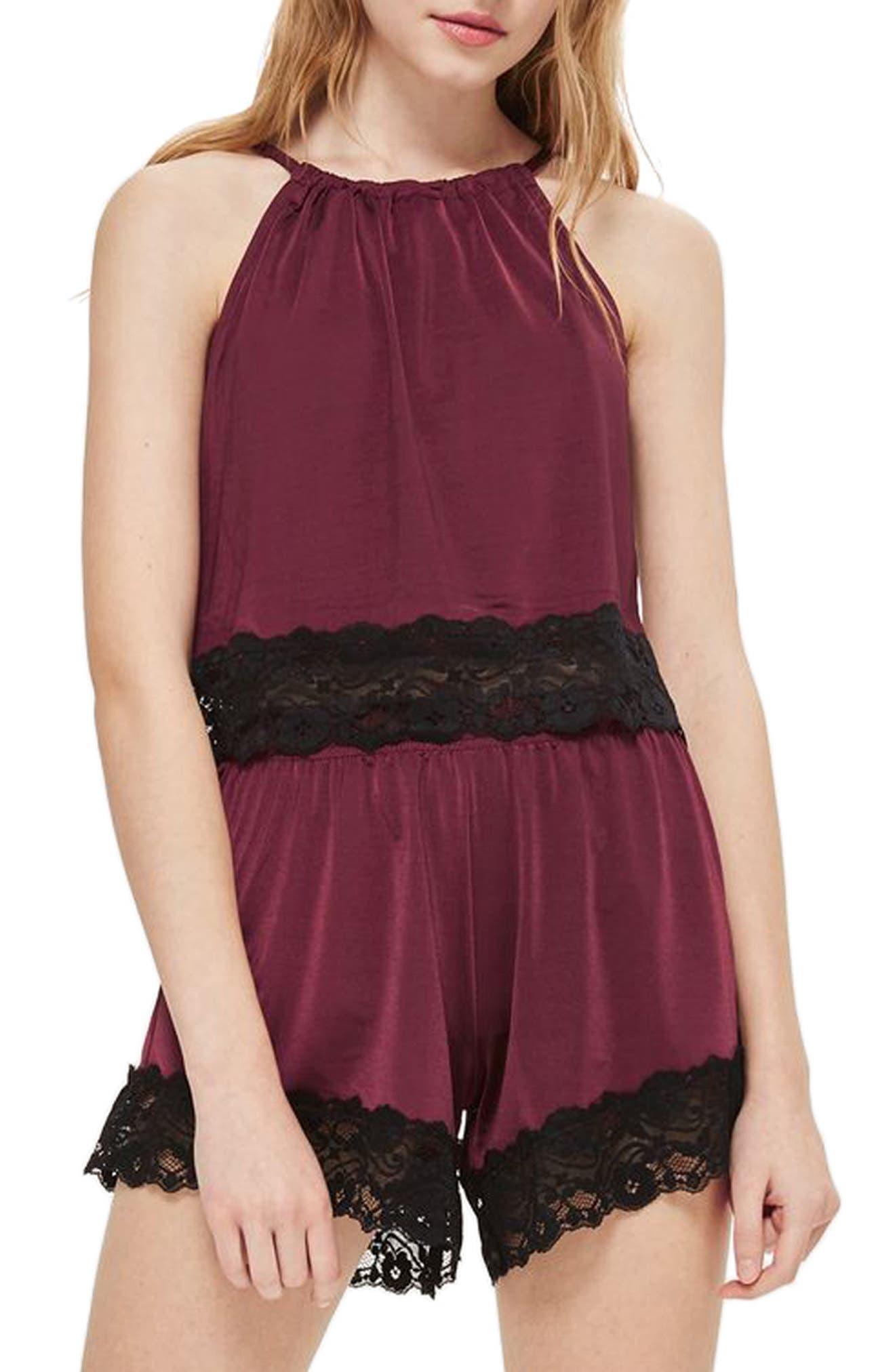 Jersey Satin & Lace Short Pajama Shorts,                             Main thumbnail 1, color,                             Berry Multi