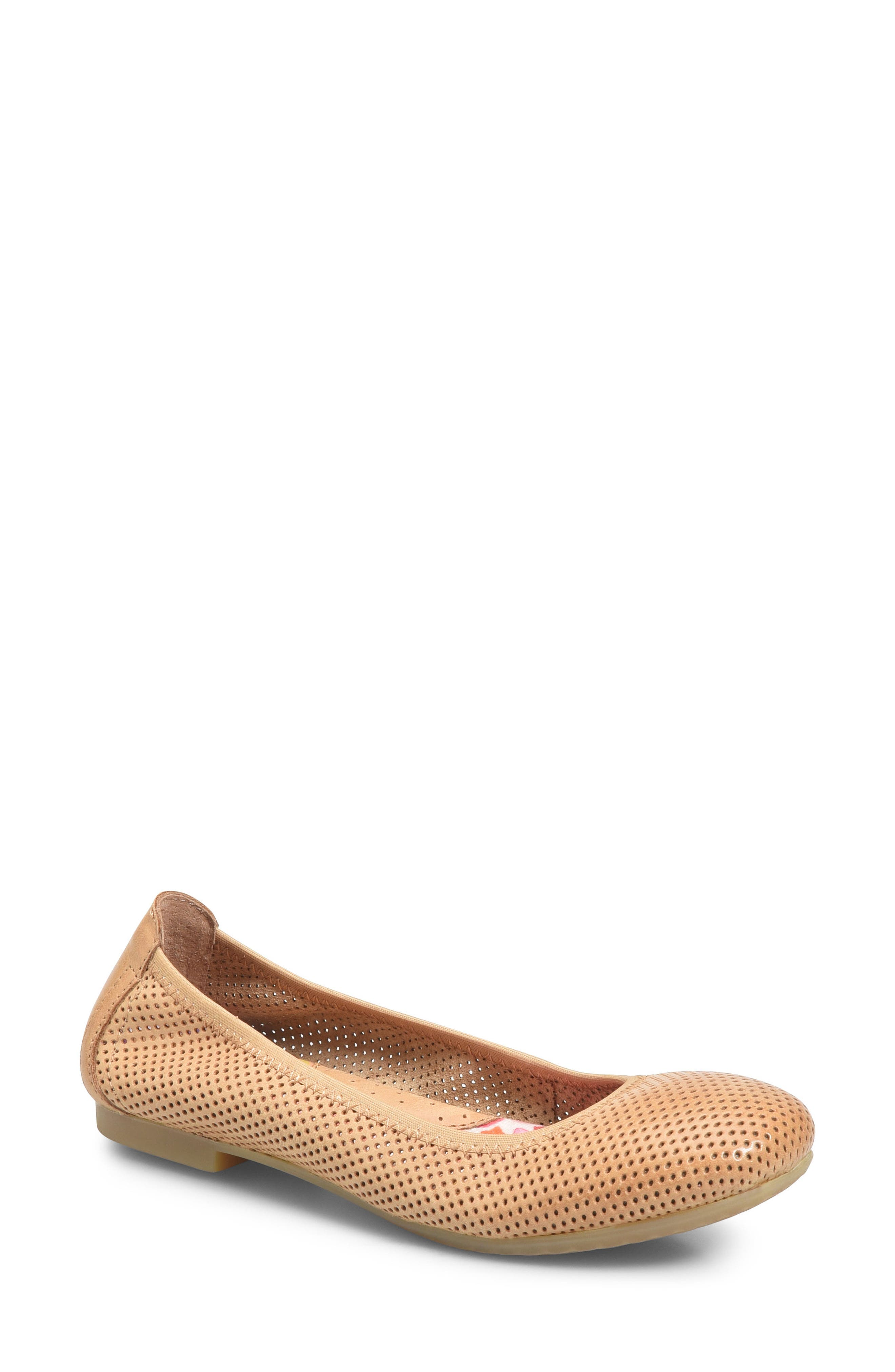 Julianne Perforated Flat,                         Main,                         color, Tan Leather