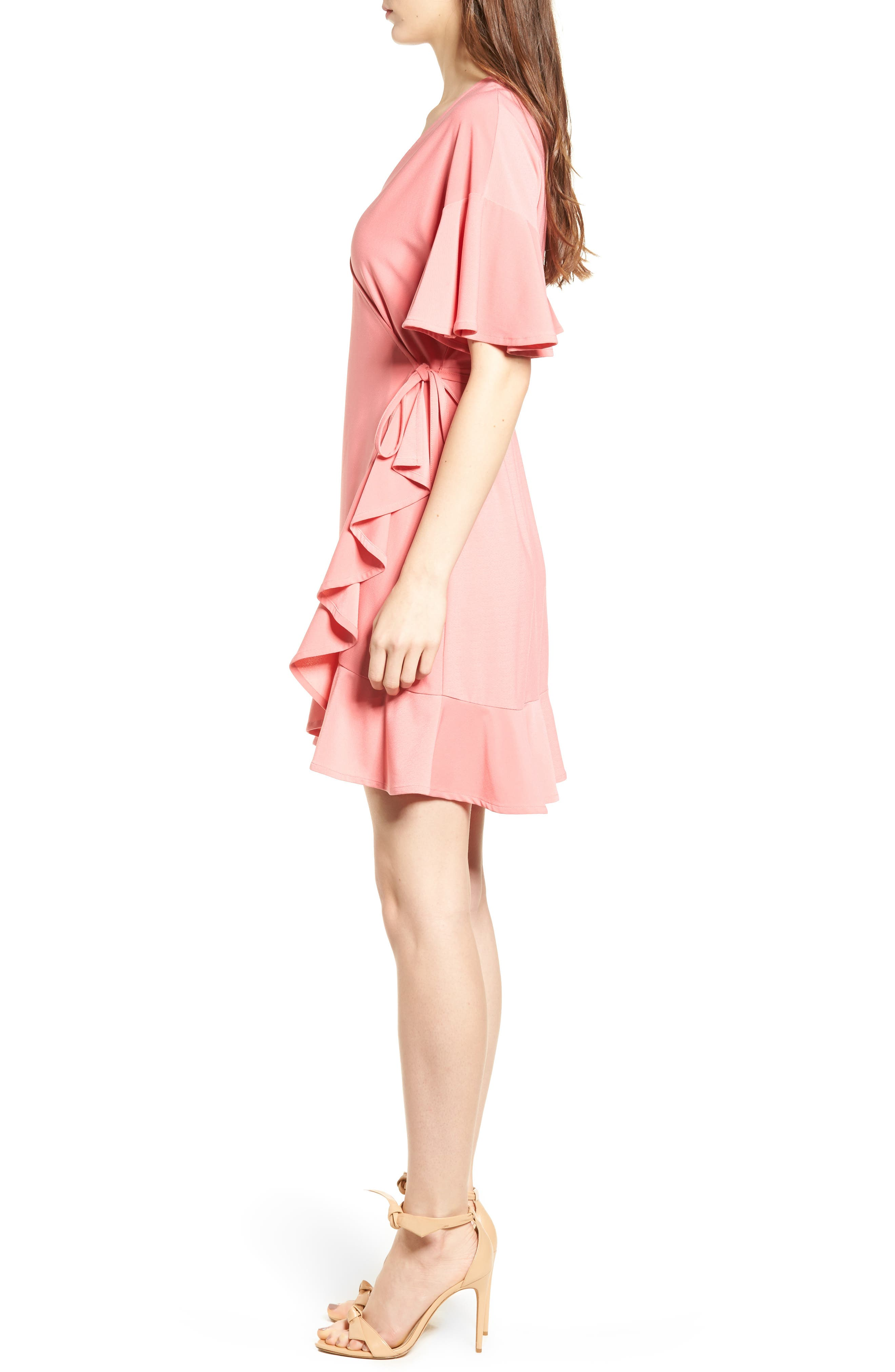 Flounce Sleeve Wrap Dress,                             Alternate thumbnail 3, color,                             Coral Rose Tea