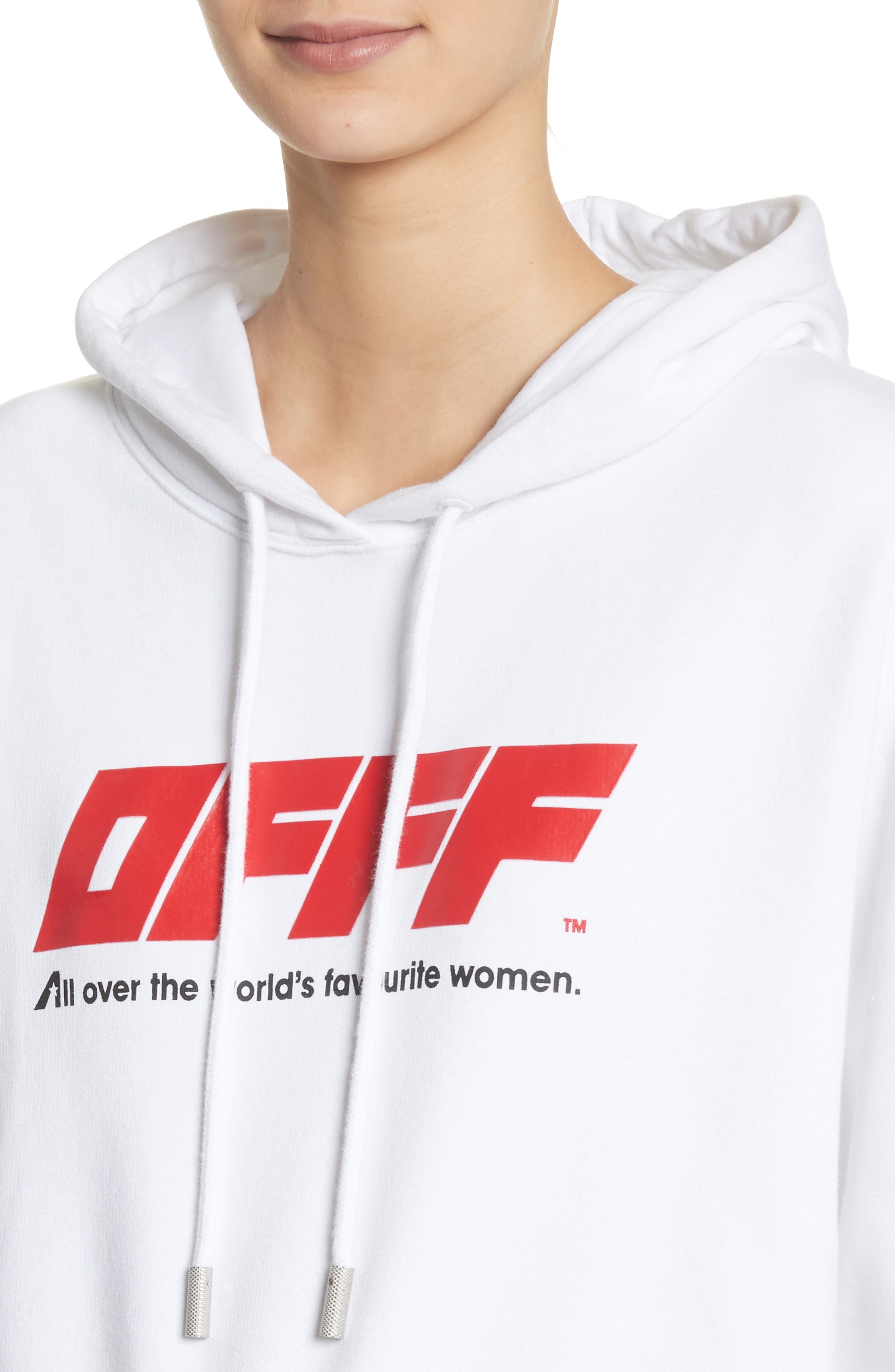 OFFF Crop Hoodie,                             Alternate thumbnail 5, color,                             White Red