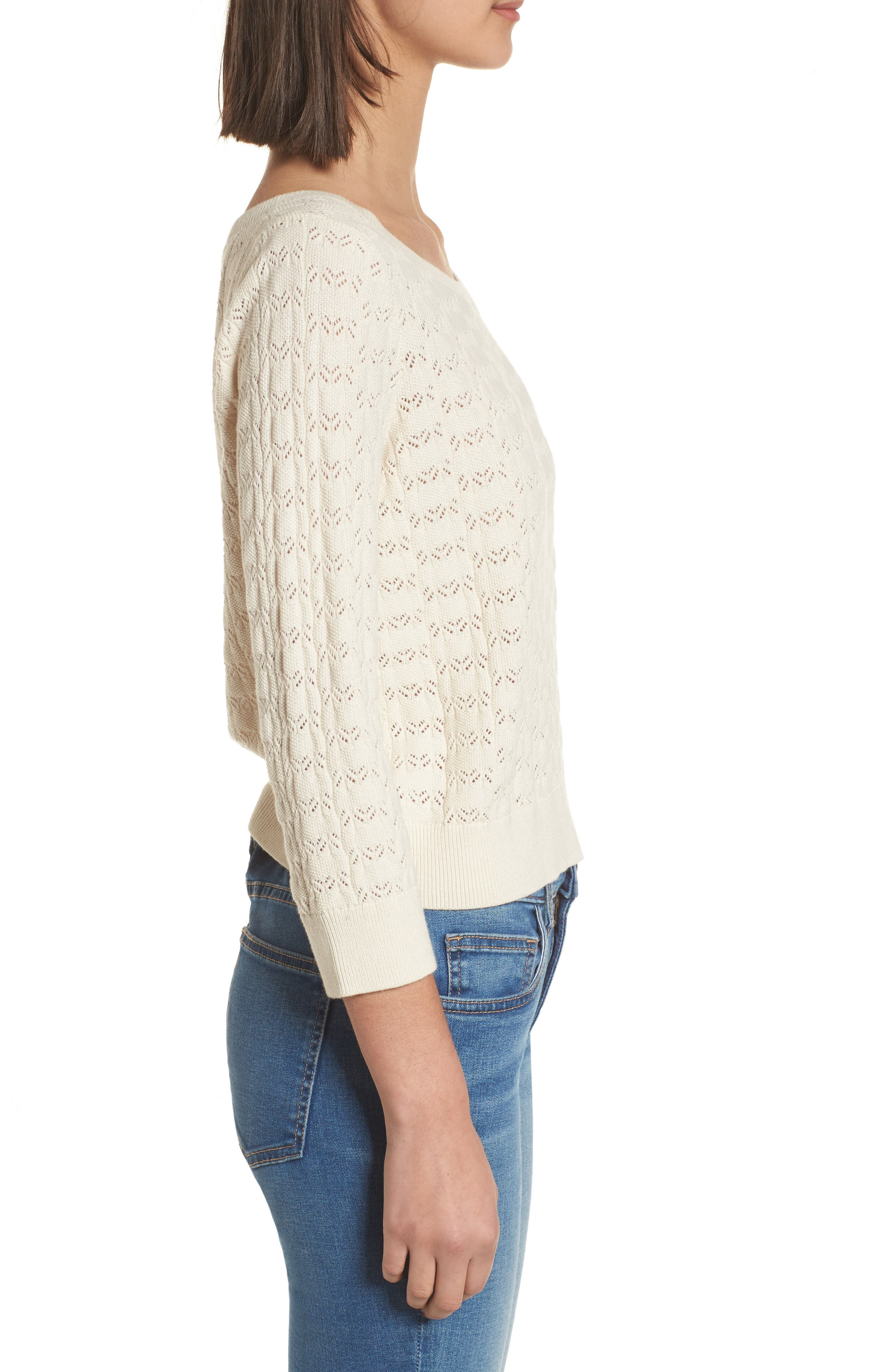 Pointelle Crop Sweater,                             Alternate thumbnail 3, color,                             Ivory Birch