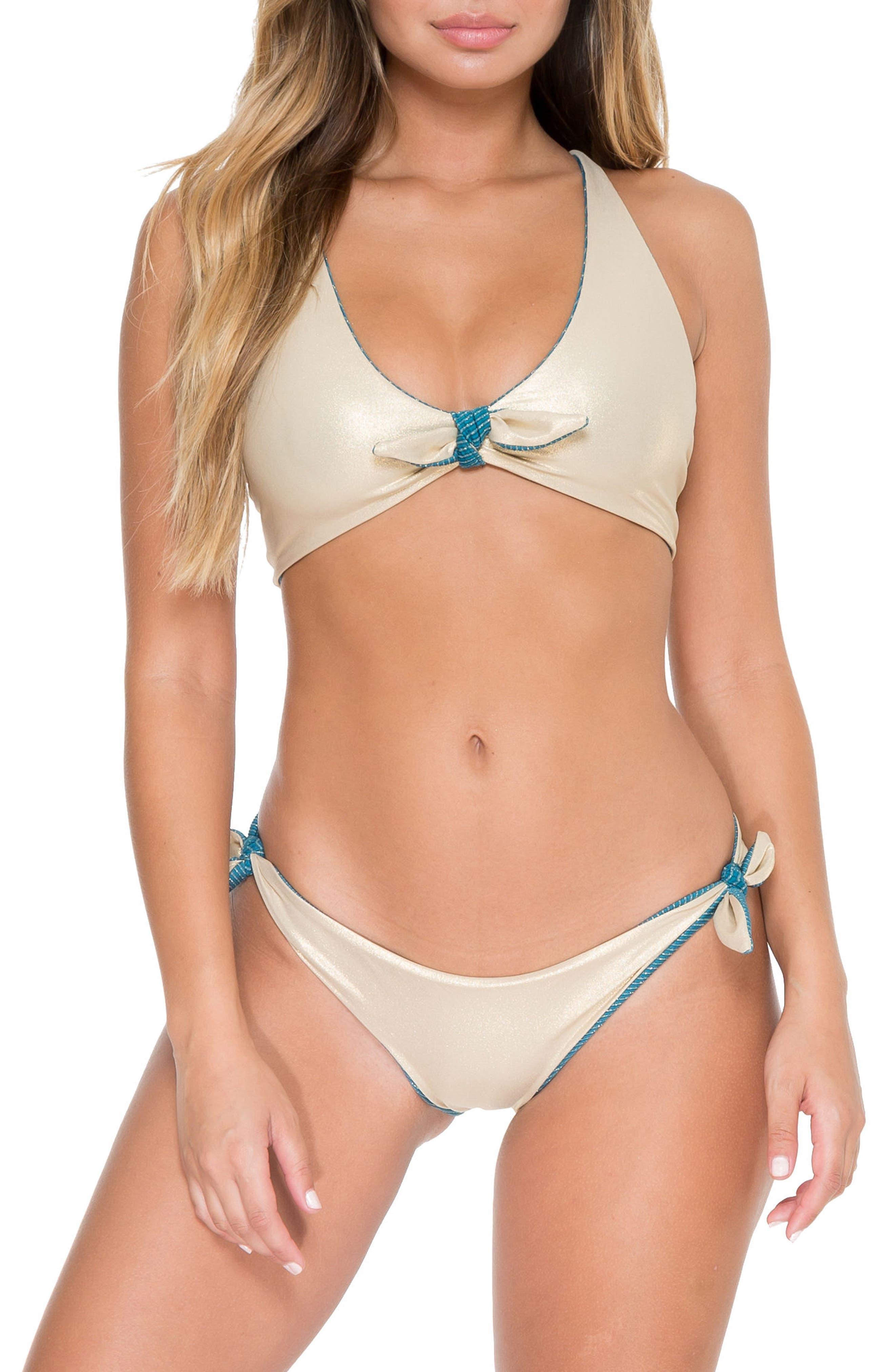 Cayo Hueso Reversible Bikini Bottoms,                             Alternate thumbnail 6, color,                             Miramar Blue/ Gold