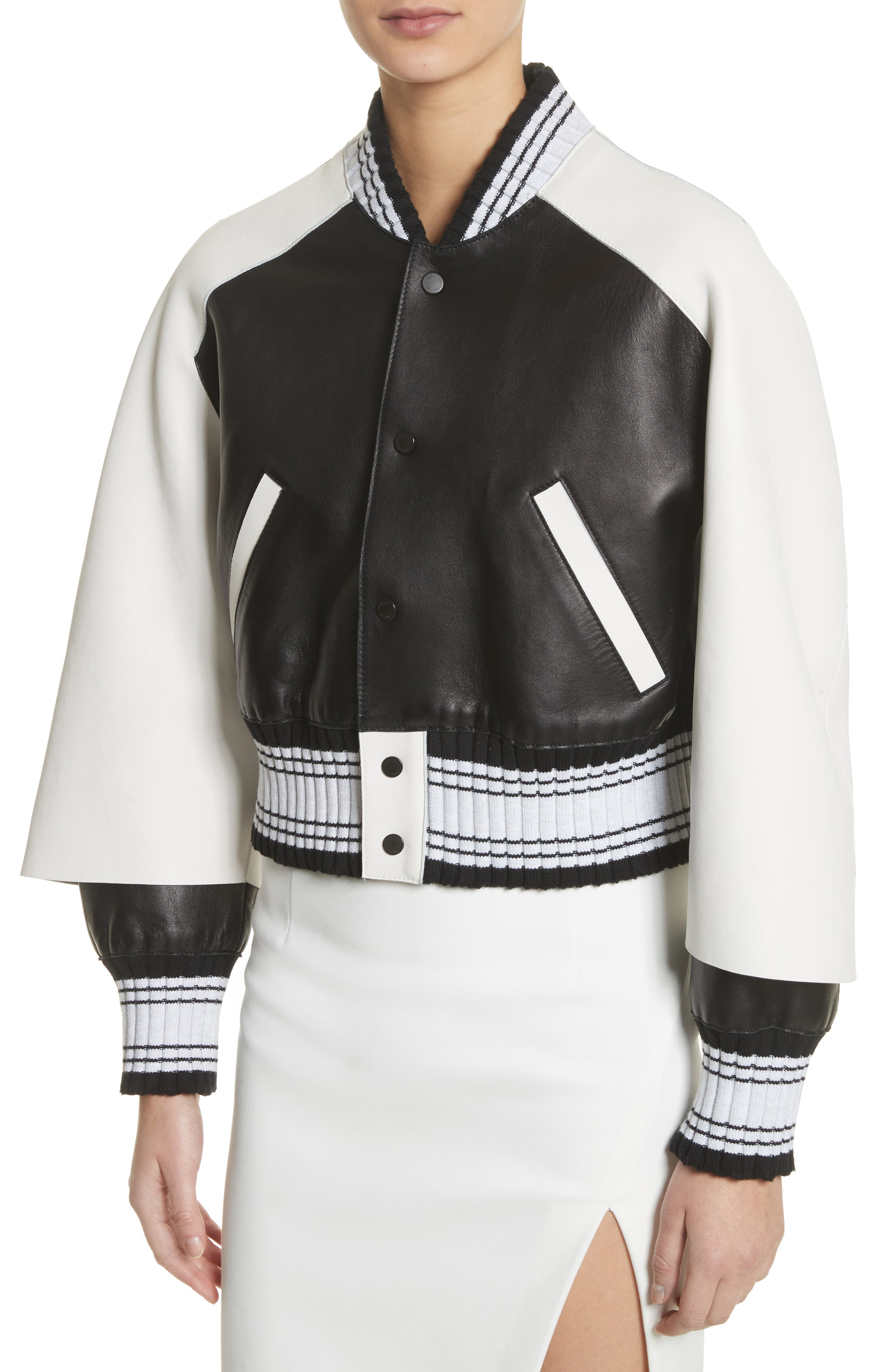 Crop Varsity Jacket,                             Alternate thumbnail 4, color,                             Multicolor White