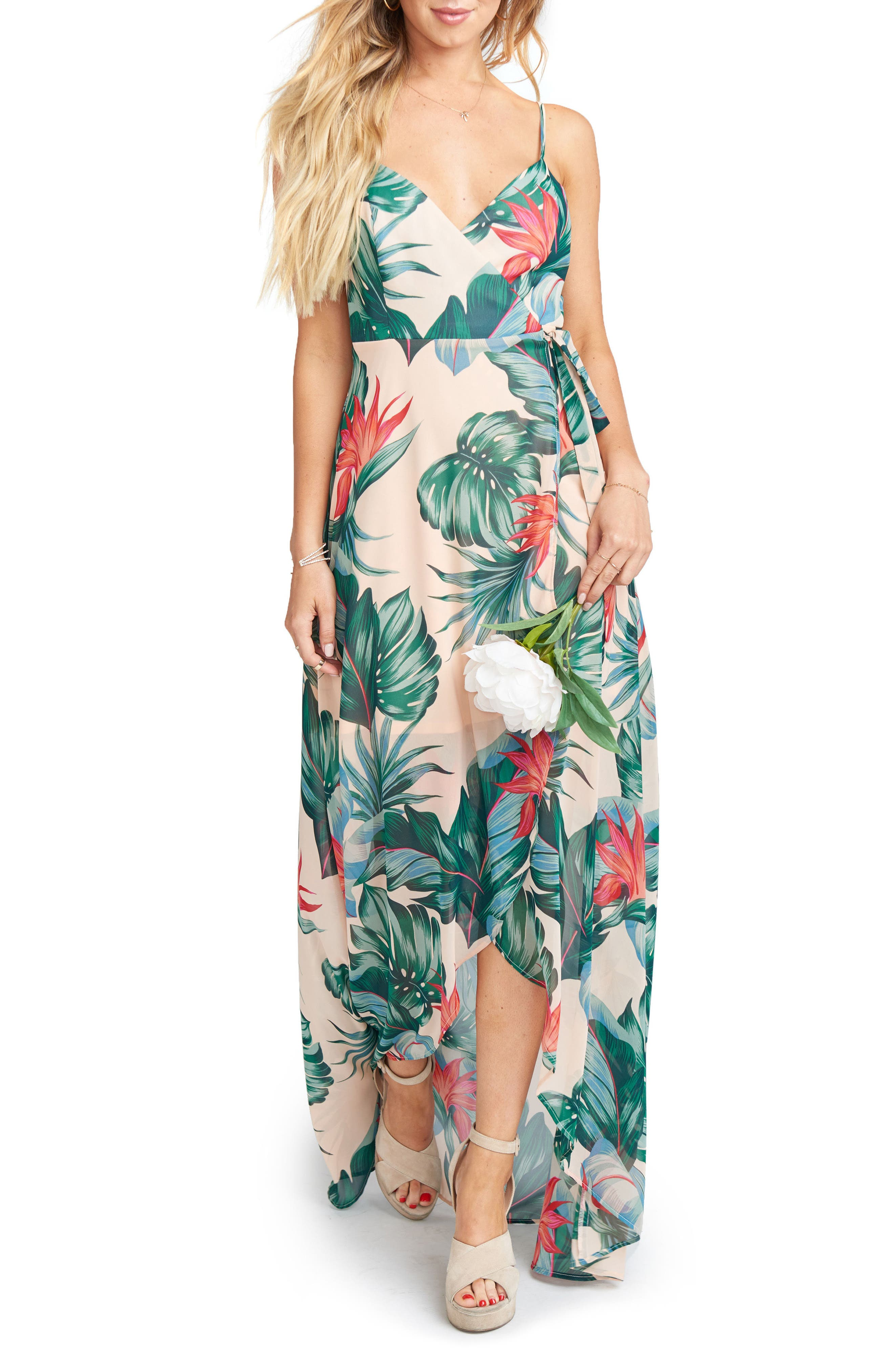 Mariah Wrap Maxi Dress,                             Main thumbnail 1, color,                             Kauai Kisses