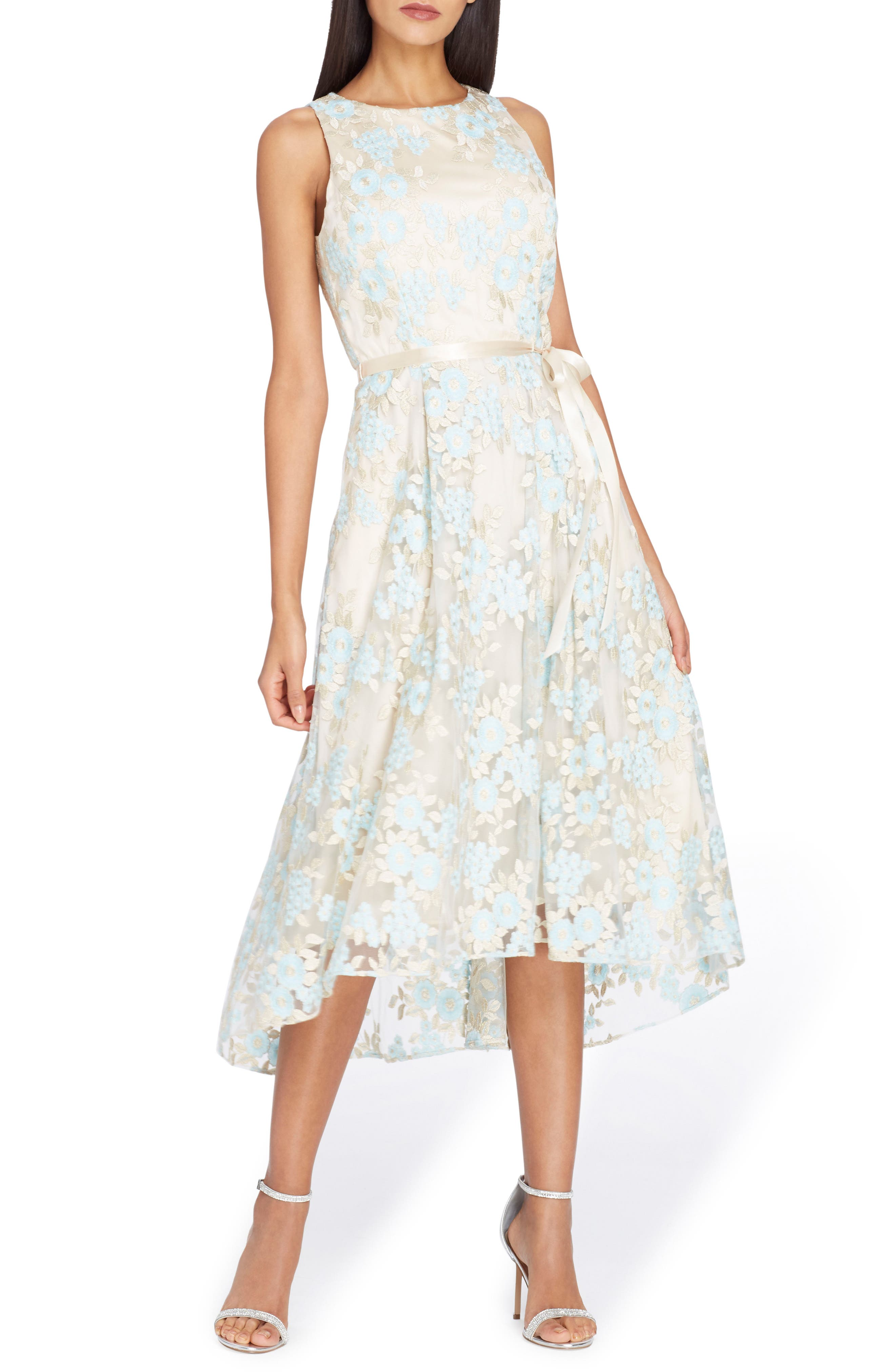Floral Embroidered Dress,                             Main thumbnail 1, color,                             Nude/ Ice Blue/ Gold