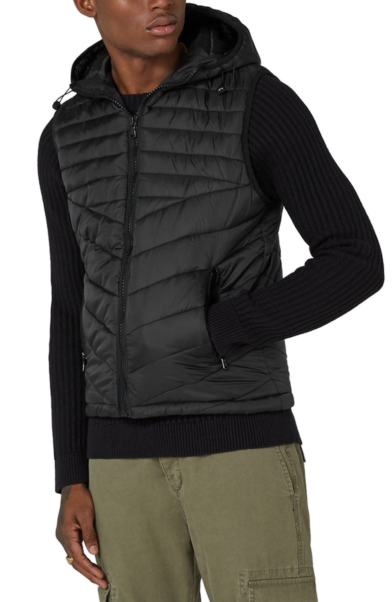 Quilted Puffer Vest,                         Main,                         color, Black