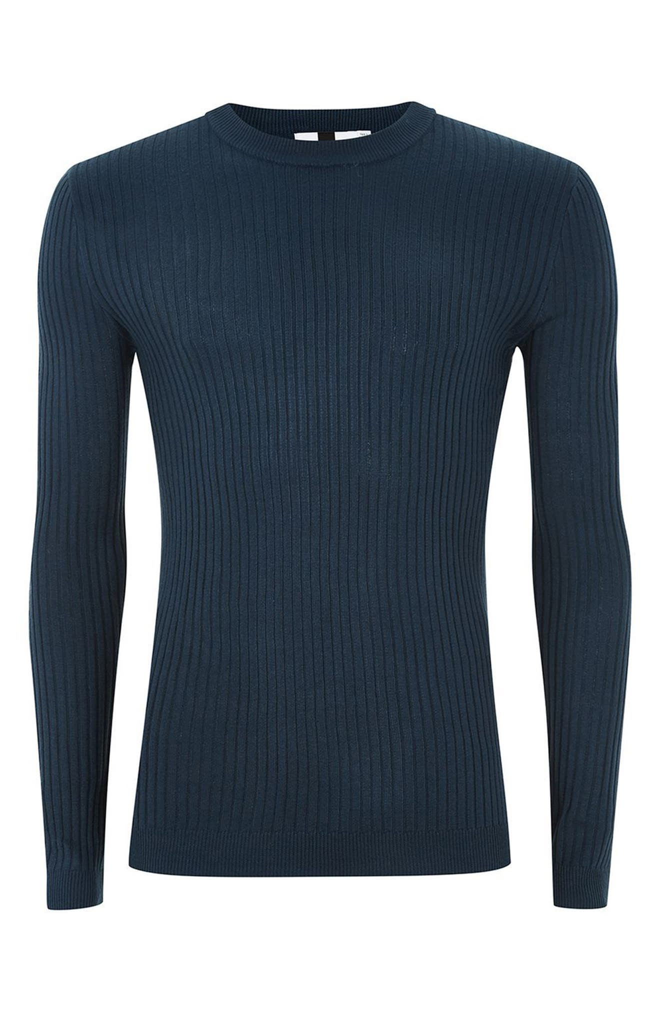 Alternate Image 4  - Topman Ribbed Muscle Fit Sweater