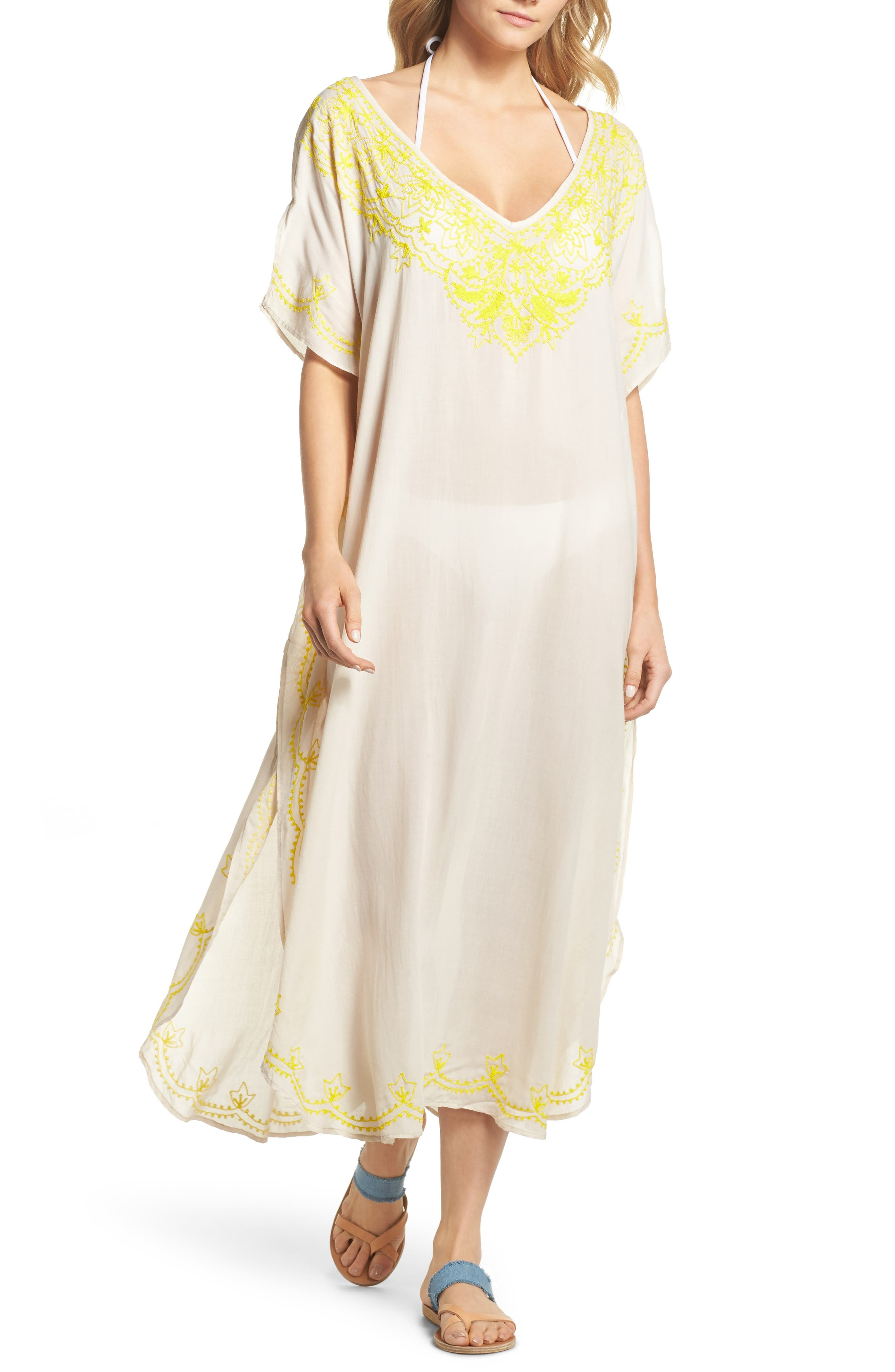 Embroidered Cover-Up Caftan,                             Main thumbnail 1, color,                             Stone