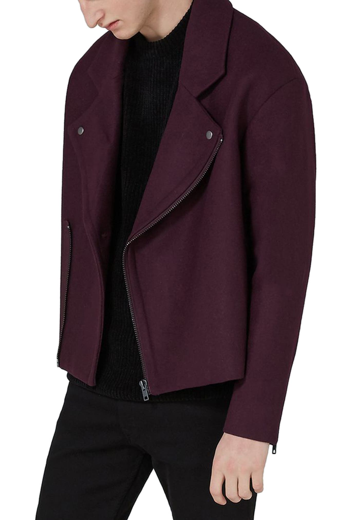 Main Image - Topman Wool Blend Biker Jacket
