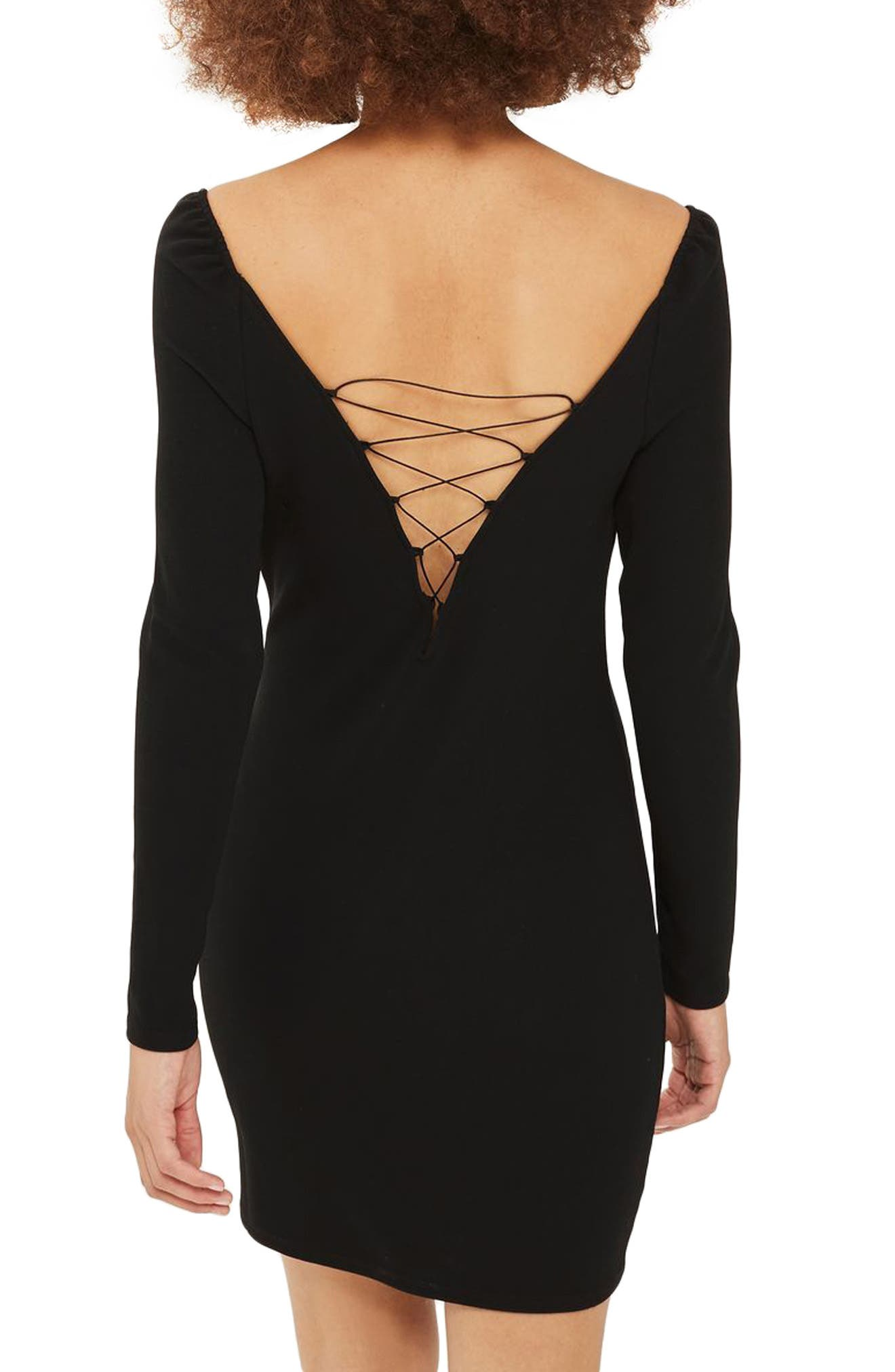 Lace-Up Boatneck Body-Con Dress,                             Alternate thumbnail 3, color,                             Black