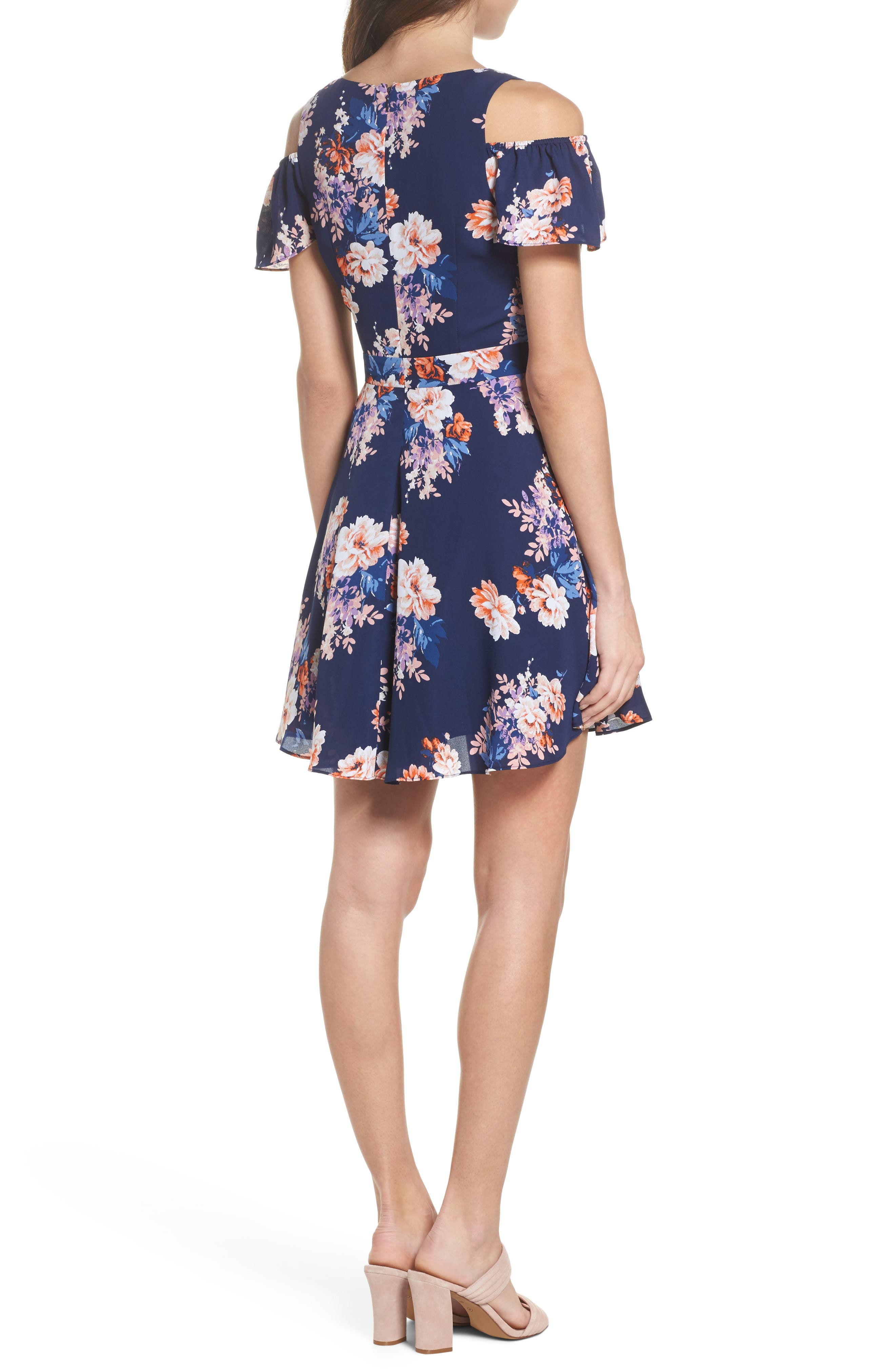 Chasing Butterflies Cold Shoulder Fit & Flare Dress,                             Alternate thumbnail 3, color,                             Navy Floral
