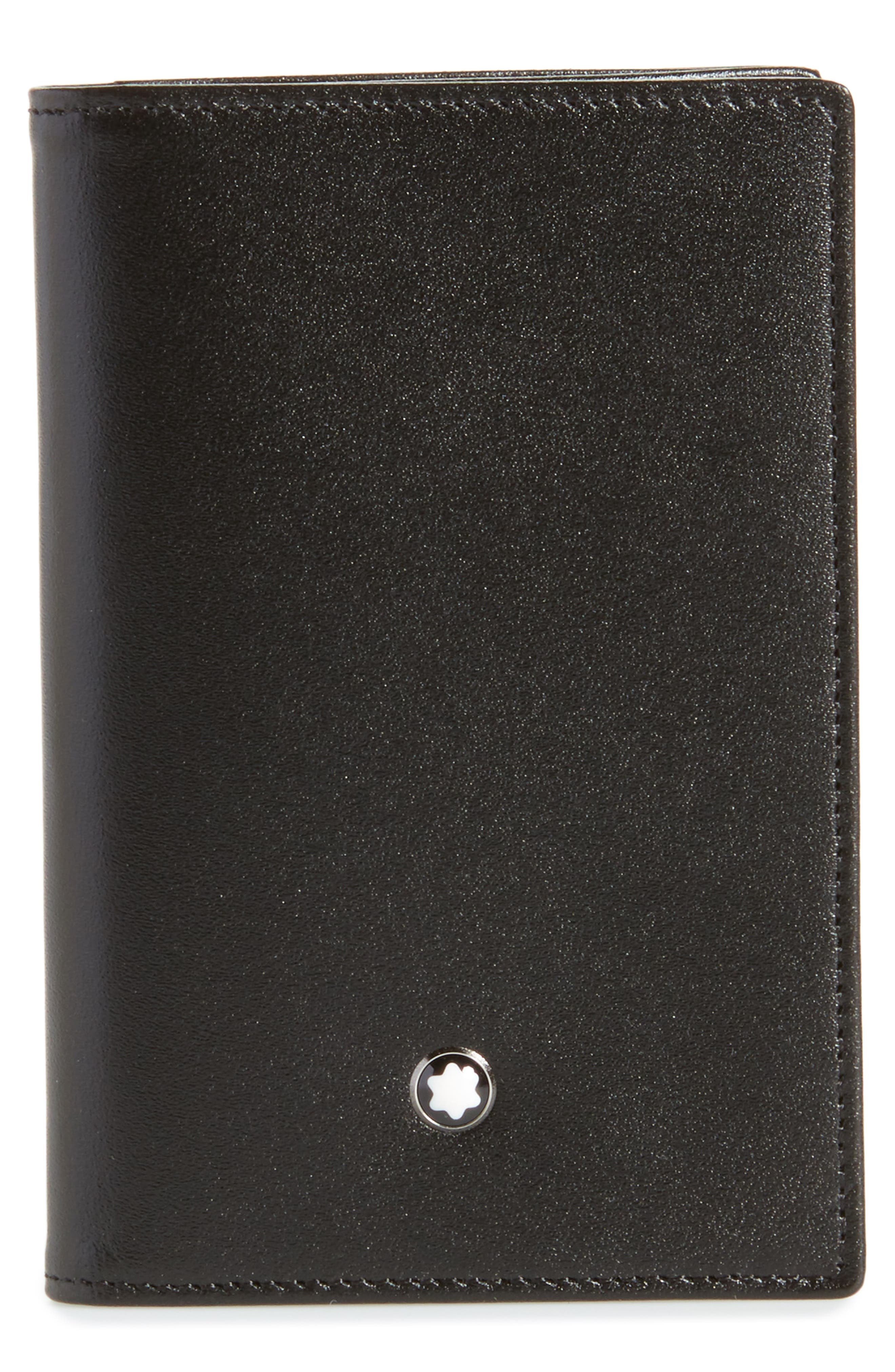 Meisterstück Leather Card Case,                         Main,                         color, Black