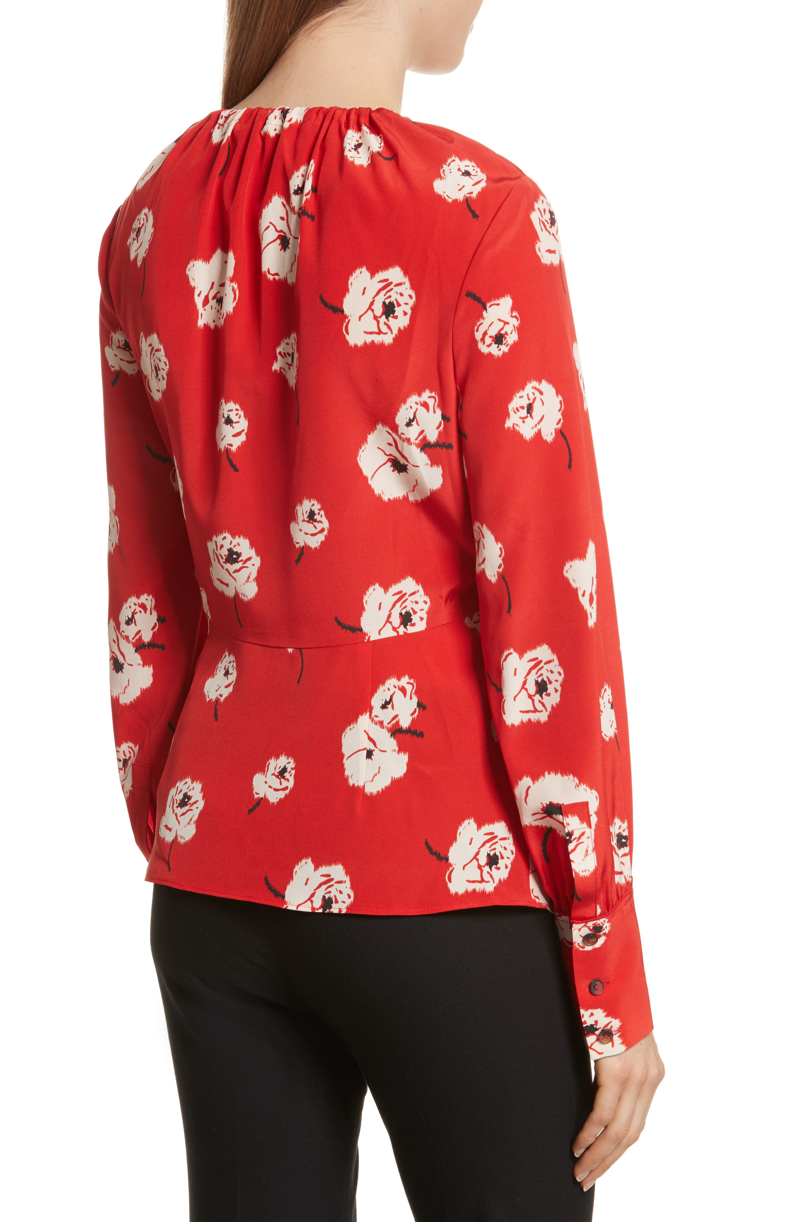 Asymmetrical Floral Silk Blouse,                             Alternate thumbnail 2, color,                             Red Clay