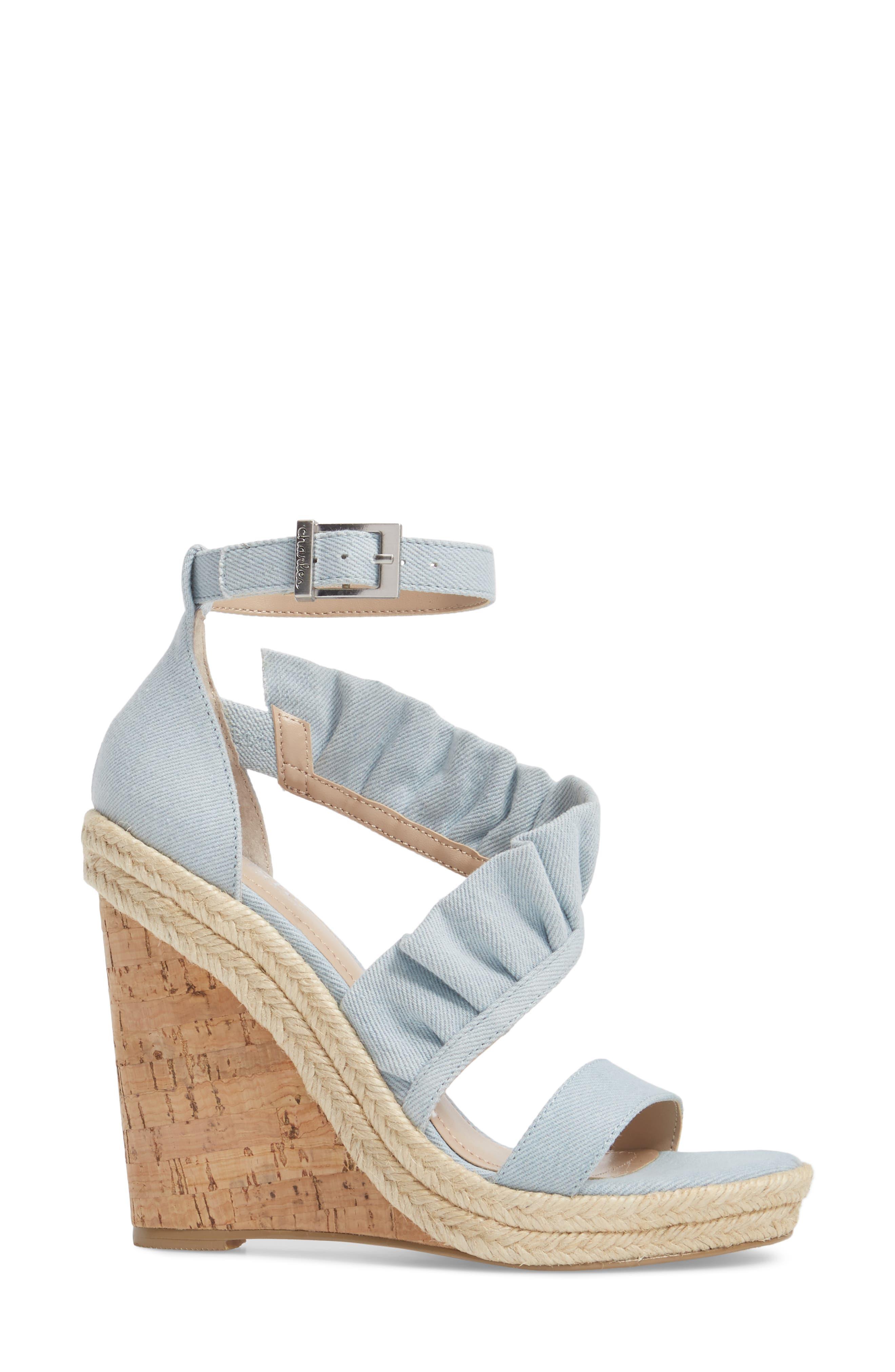 Brooke Espadrille Wedge Sandal,                             Alternate thumbnail 3, color,                             Light Blue Denim