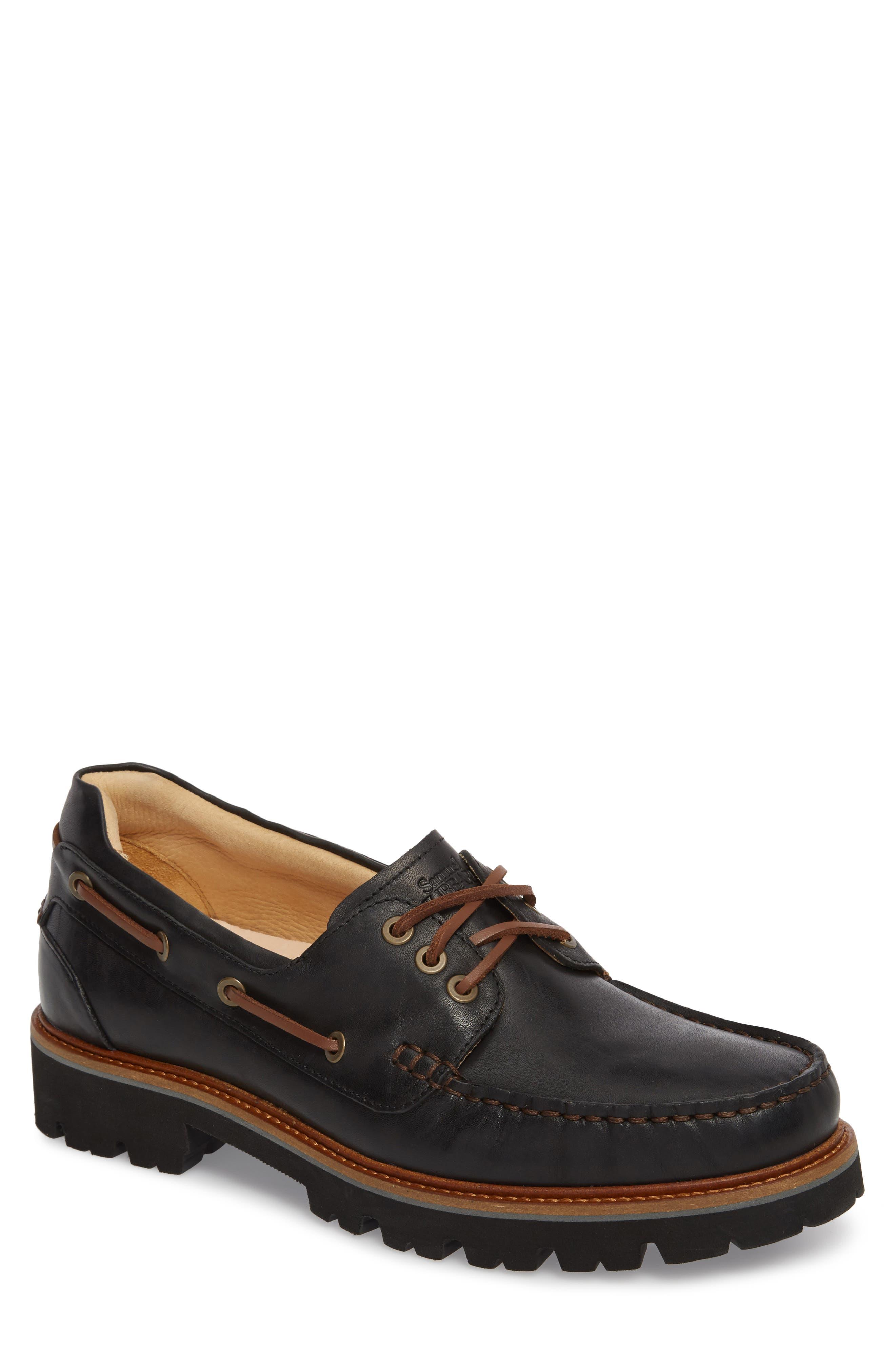 Camplight Water Resistant Boat Shoe,                             Main thumbnail 1, color,                             Saddlebag Black Leather