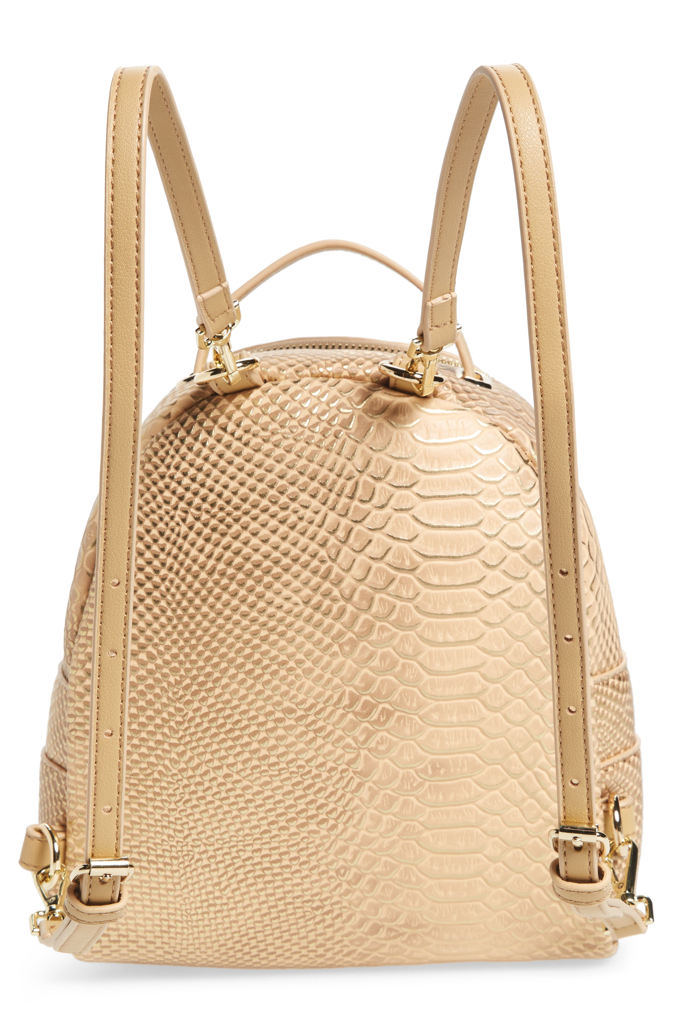 Colette Faux Leather Backpack,                             Alternate thumbnail 3, color,                             Nude Snake
