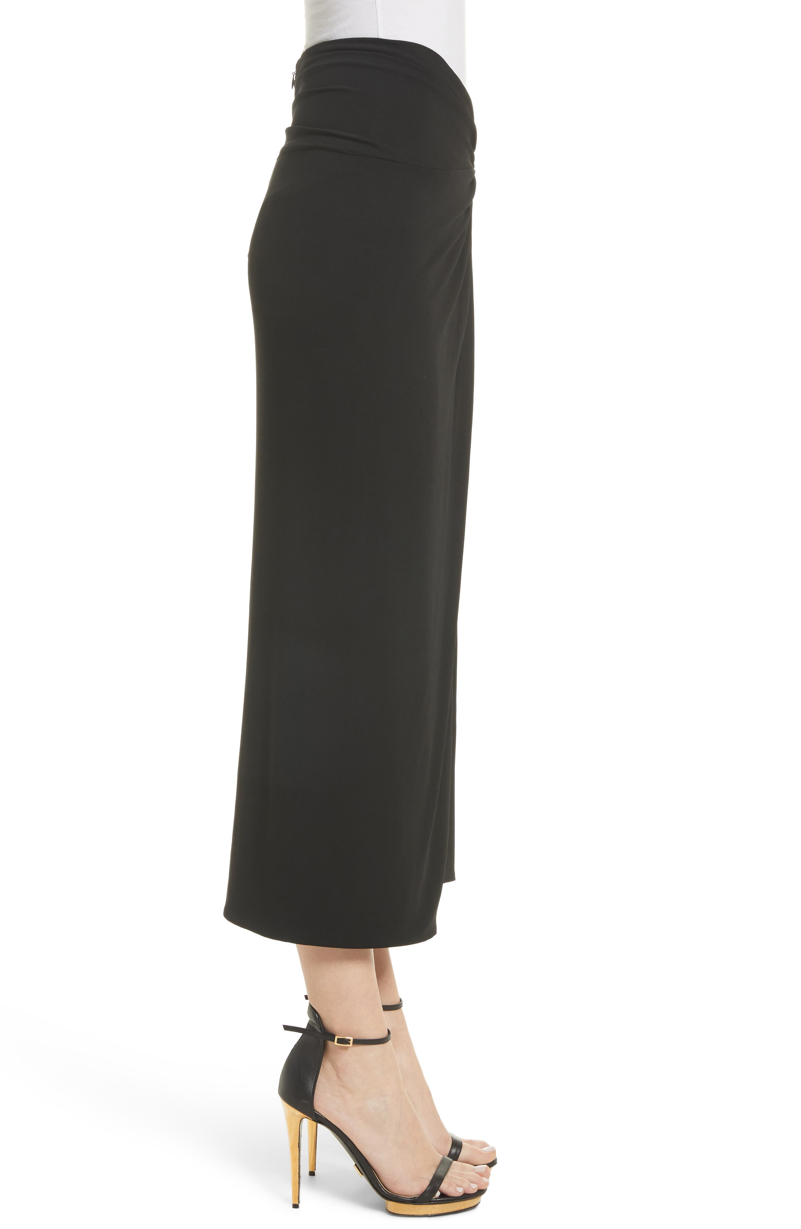 Sarong Midi Skirt,                             Alternate thumbnail 3, color,                             Black