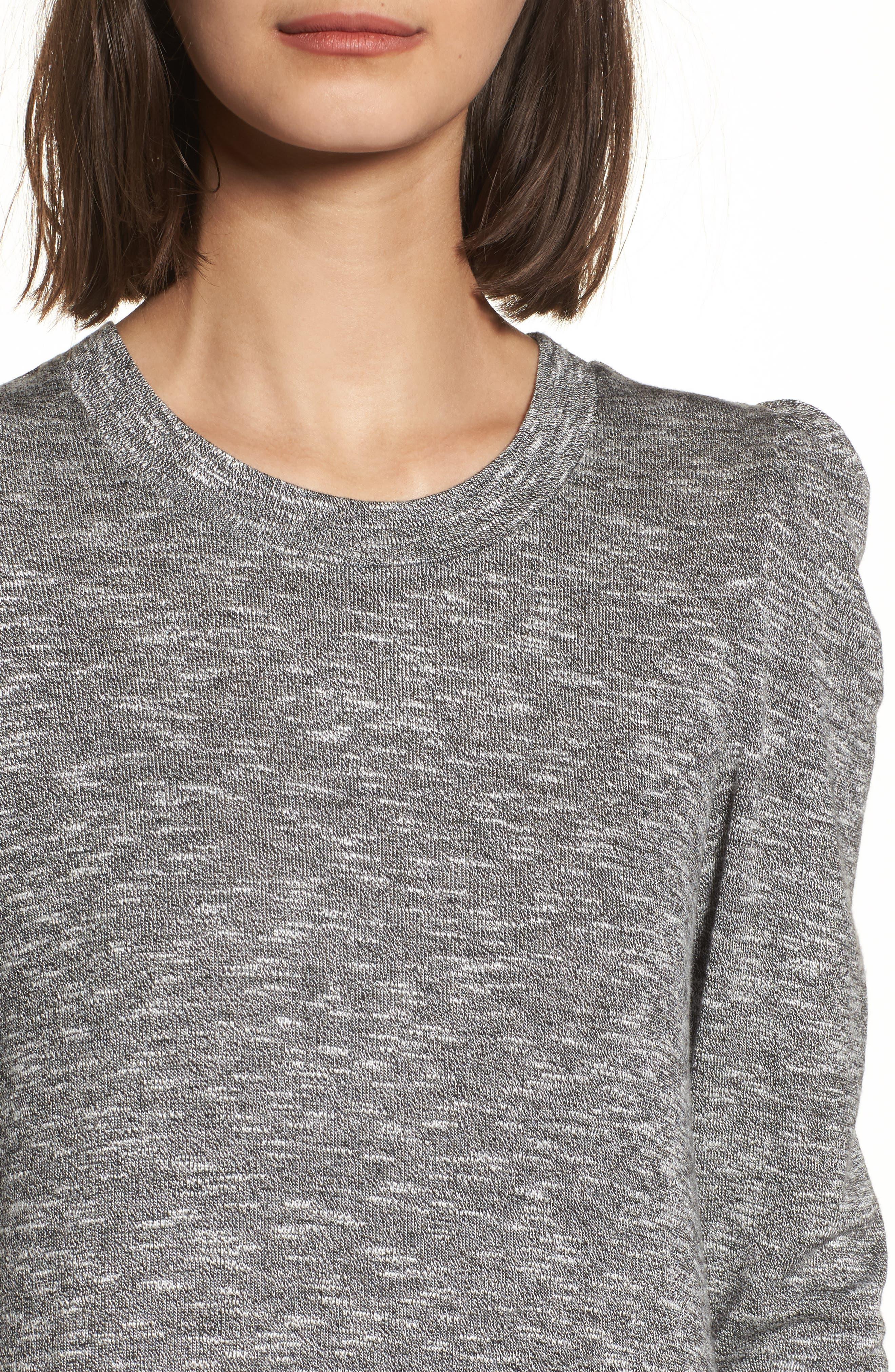 Knit Puff Shoulder Dress,                             Alternate thumbnail 4, color,                             Heather Grey