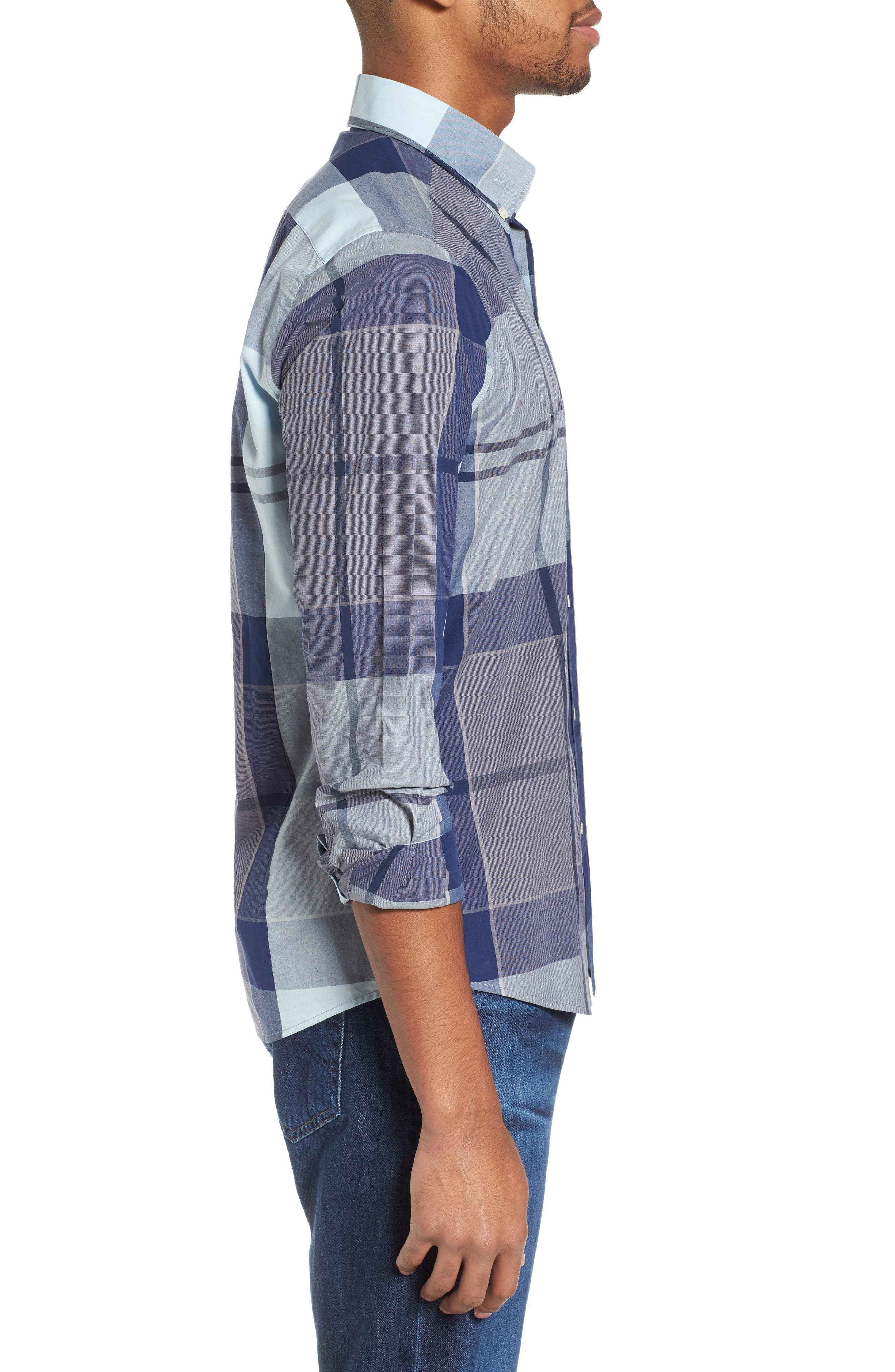 Arndale Tailored Fit Plaid Sport Shirt,                             Alternate thumbnail 3, color,                             Chambray