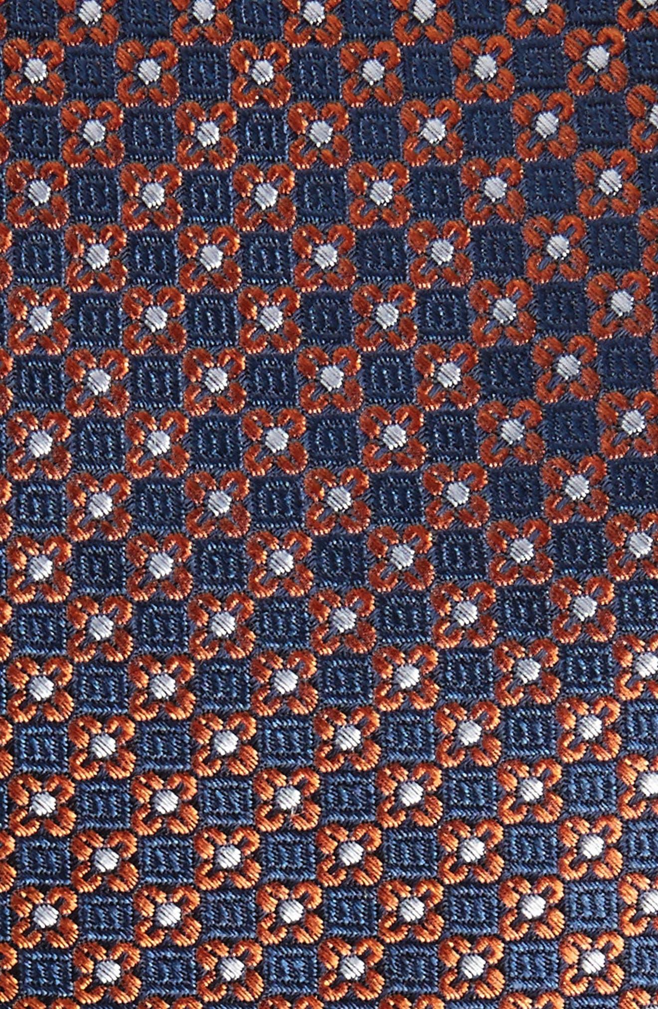 Floral Network Silk Skinny Tie,                             Alternate thumbnail 2, color,                             Orange