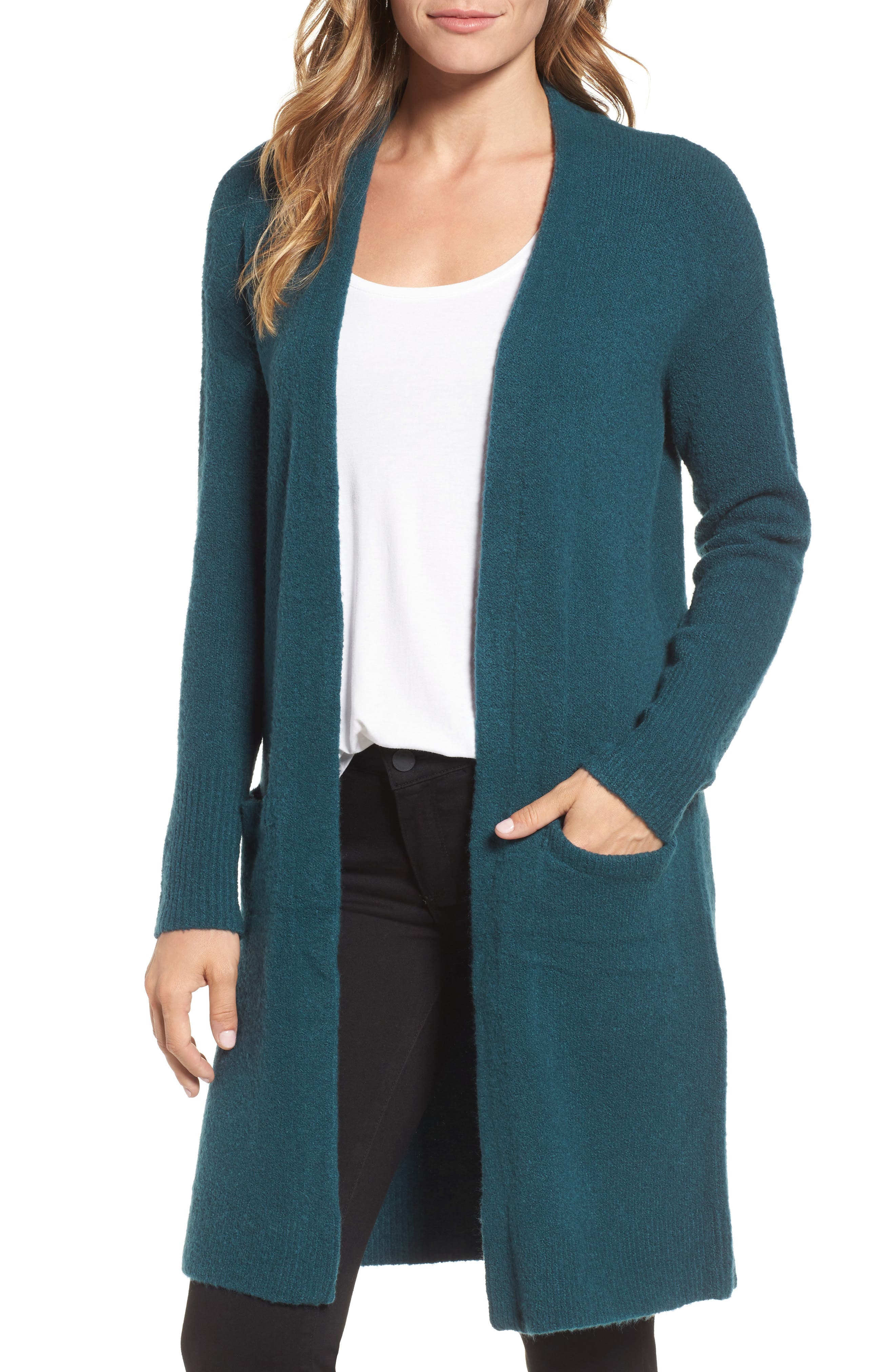 Halogen® Open Front Cardigan (Regular & Petite)