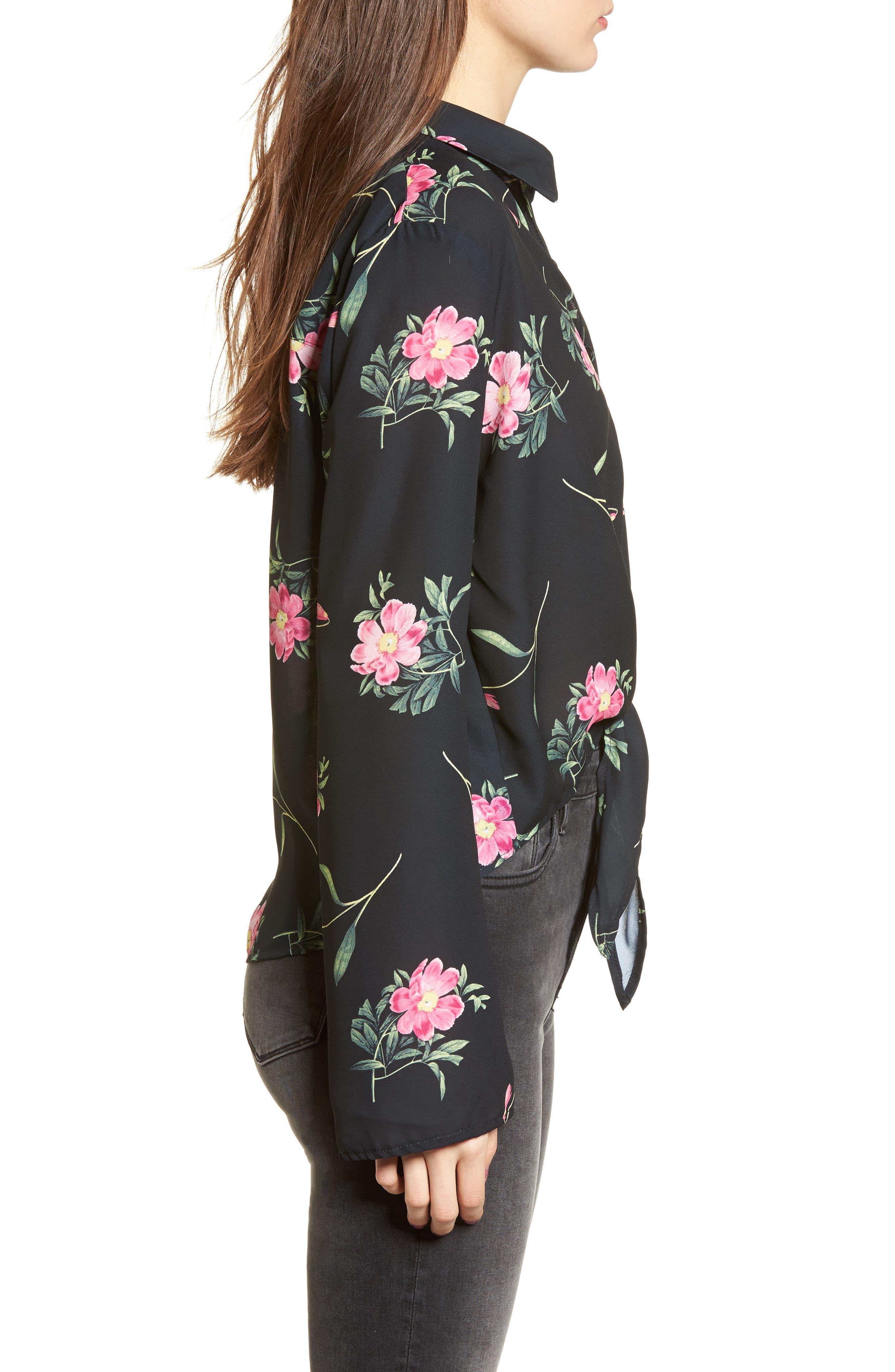 Tie Front Shirt,                             Alternate thumbnail 3, color,                             Black Floral