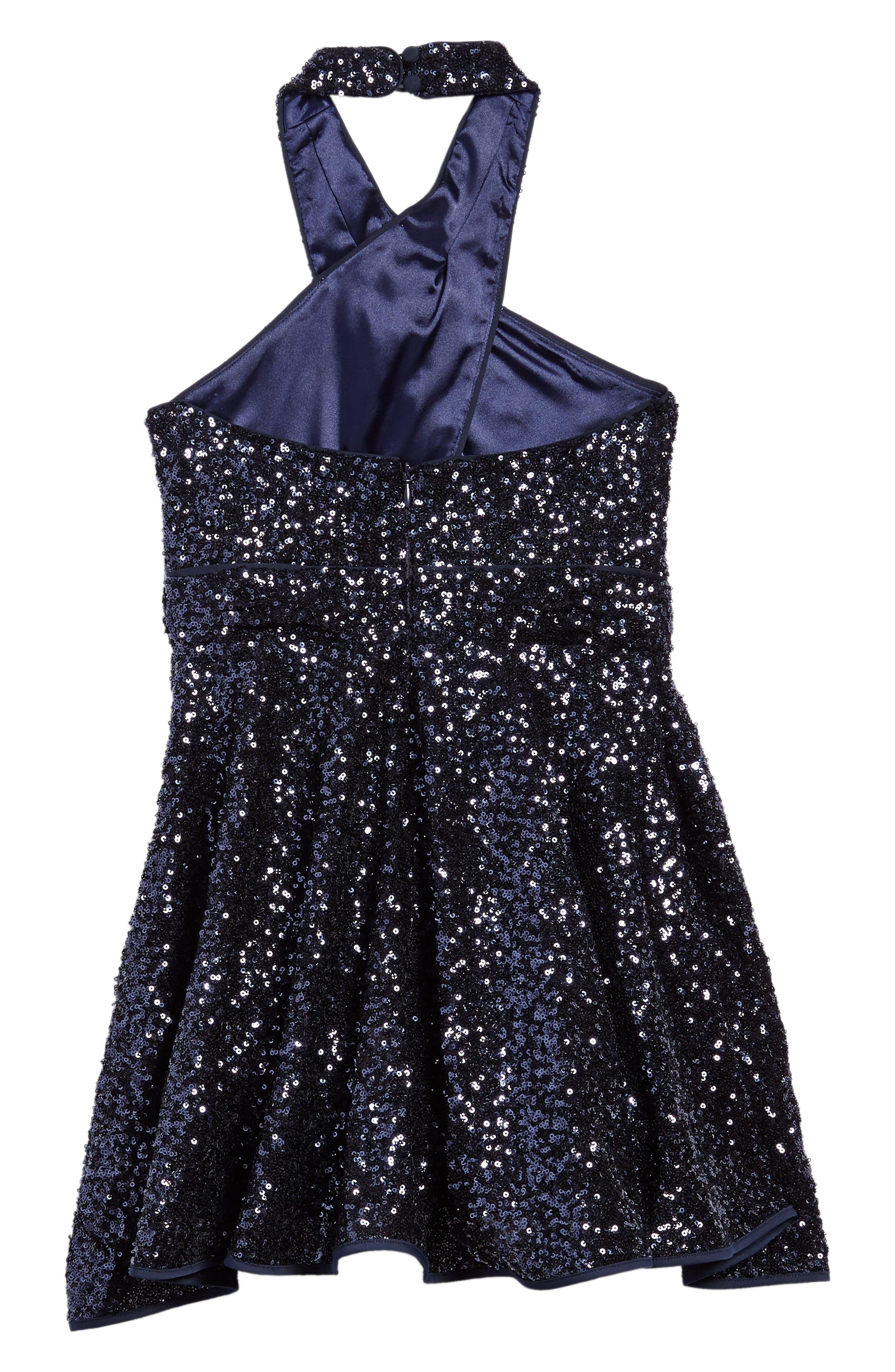 Alternate Image 2  - Milly Minis Sydney Sequin Halter Dress (Big Girls)