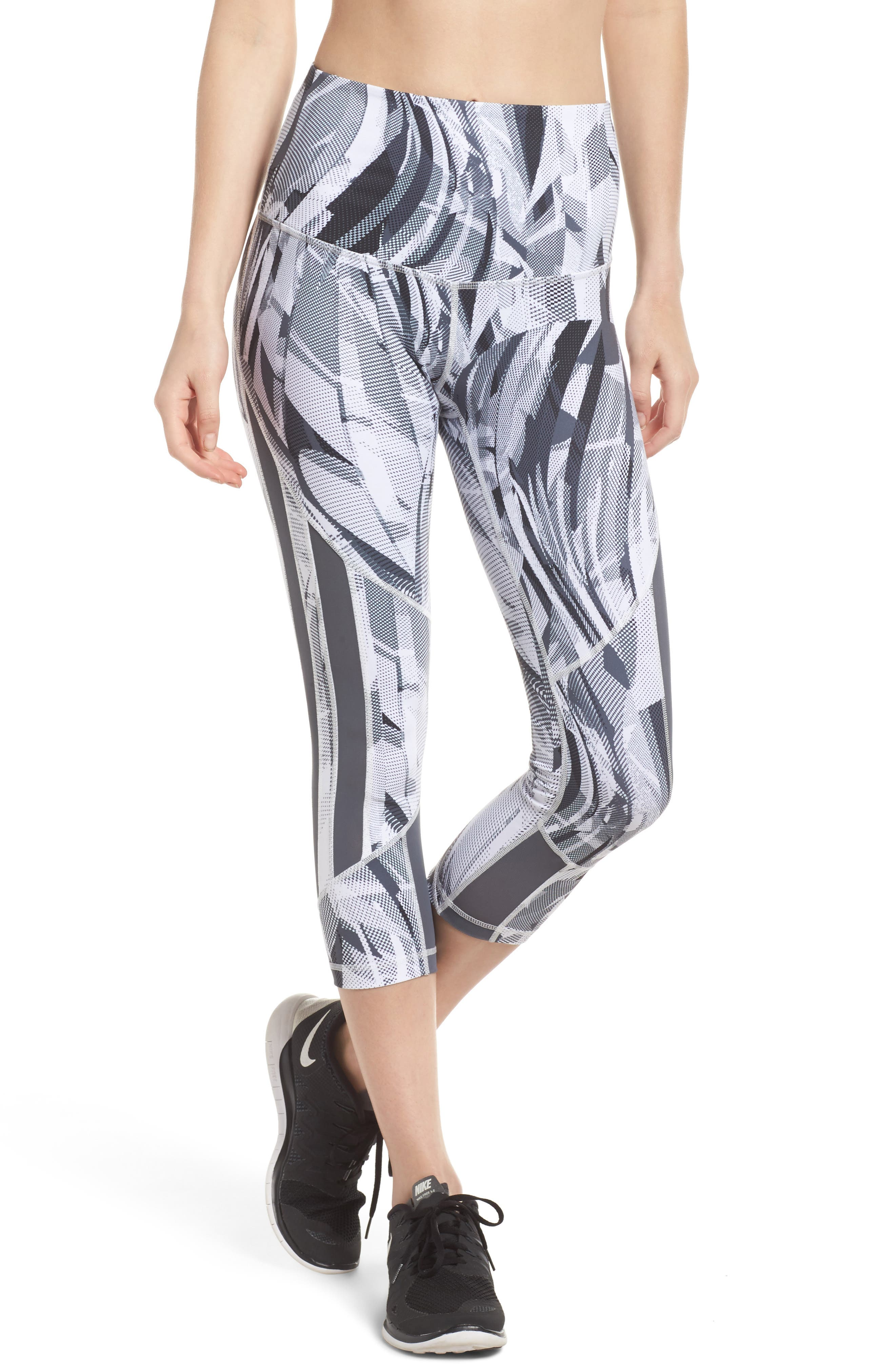 Sheer to There High Waist Crop Leggings,                             Main thumbnail 1, color,                             White Atmospheric Camo Print