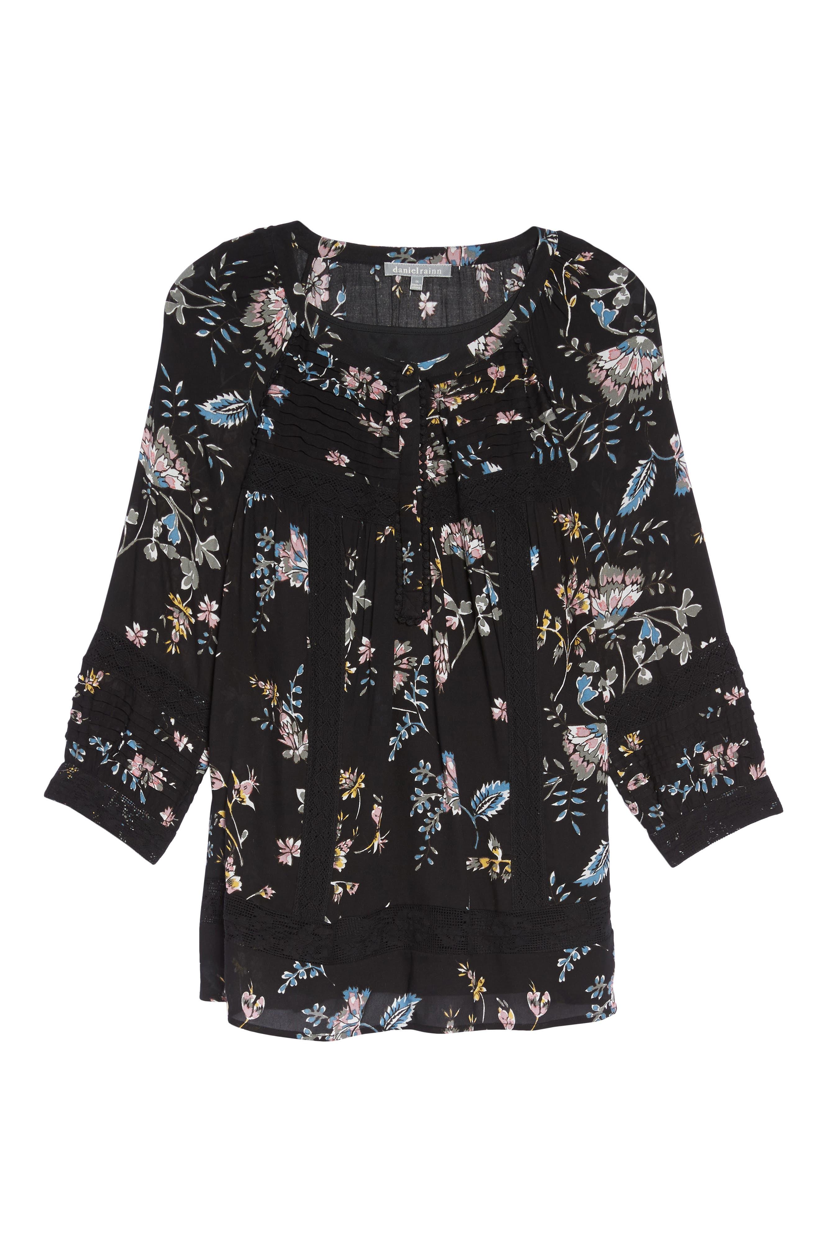 Alternate Image 6  - Daniel Rainn Lace Trim Floral Top (Plus Size)