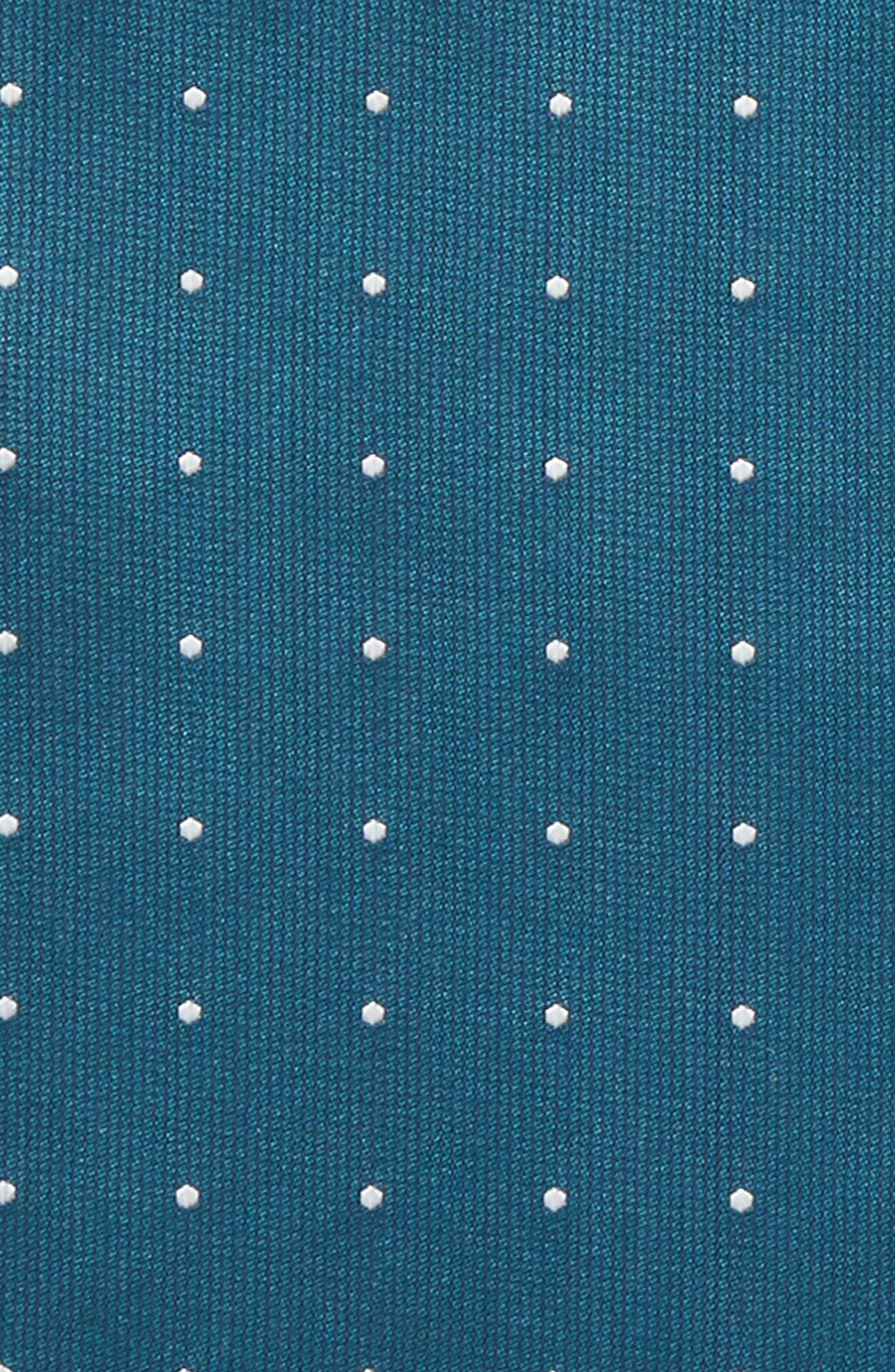 Dot Silk Pocket Square,                             Alternate thumbnail 3, color,                             Teal