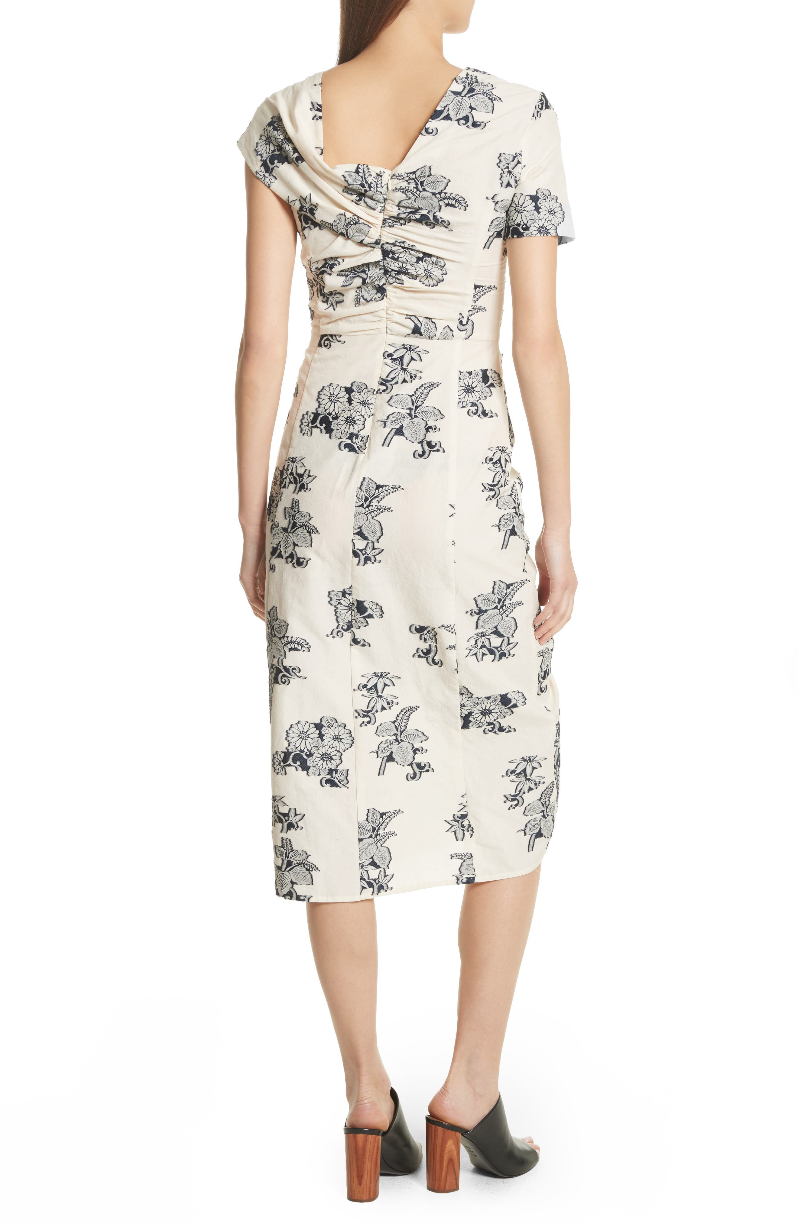 Josephine Floral Print Ruched Dress,                             Alternate thumbnail 2, color,                             Cream