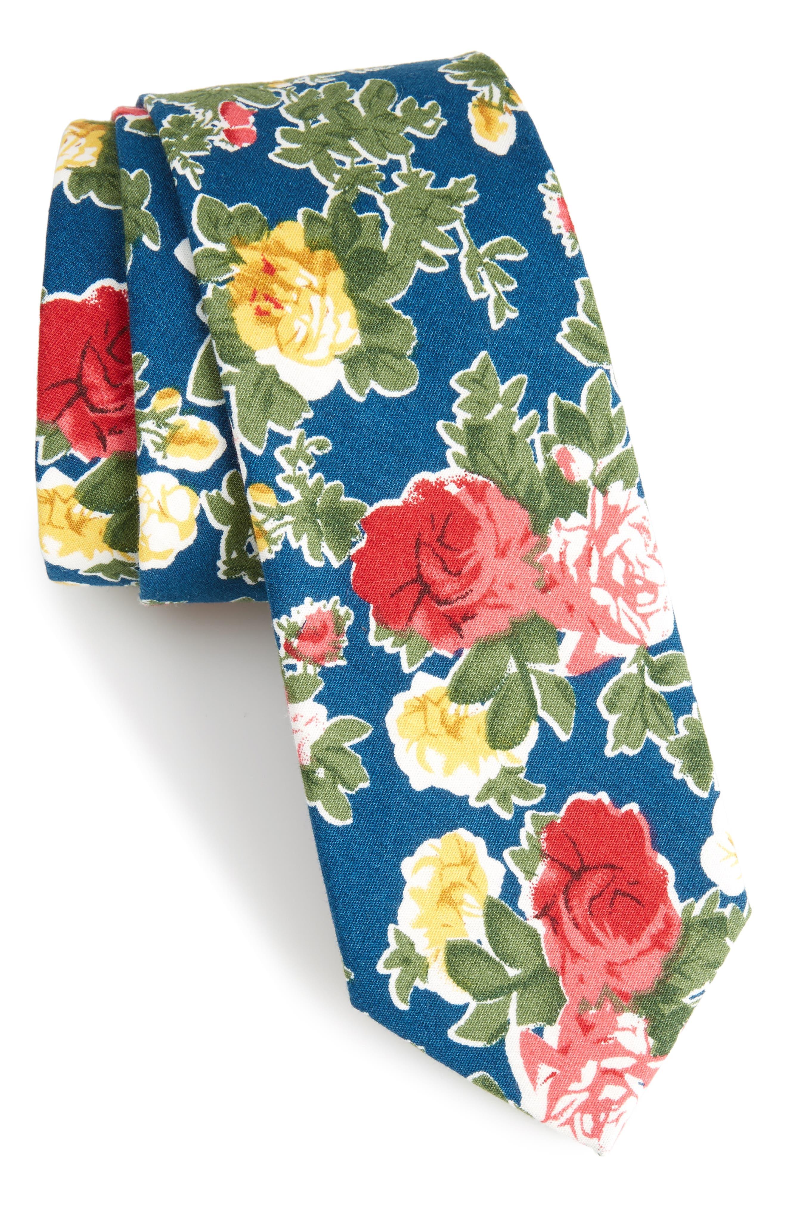 Iverson Floral Cotton Skinny Tie,                         Main,                         color, Navy