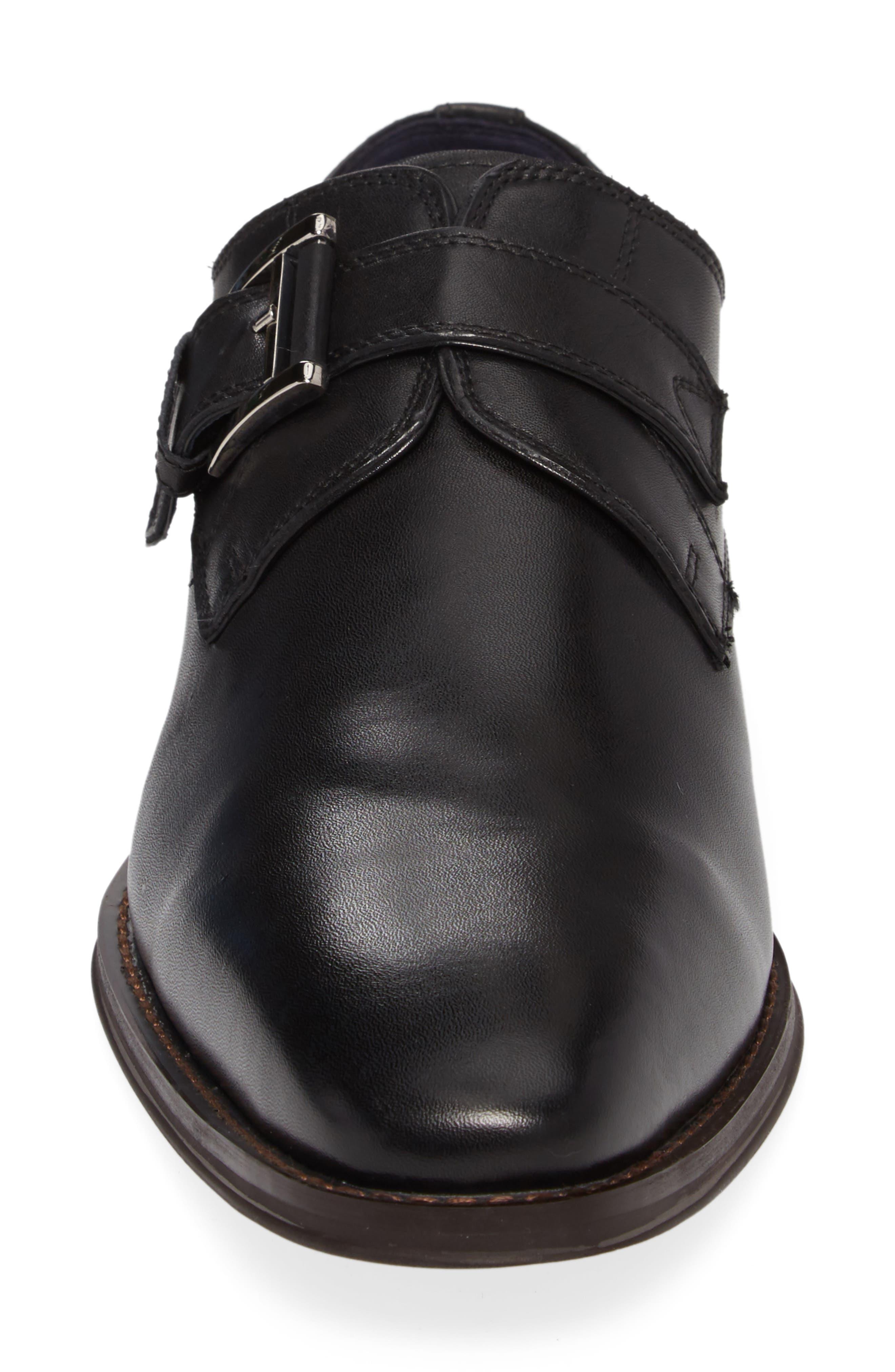 Miguel Monk Strap Shoe,                             Alternate thumbnail 4, color,                             Black Leather