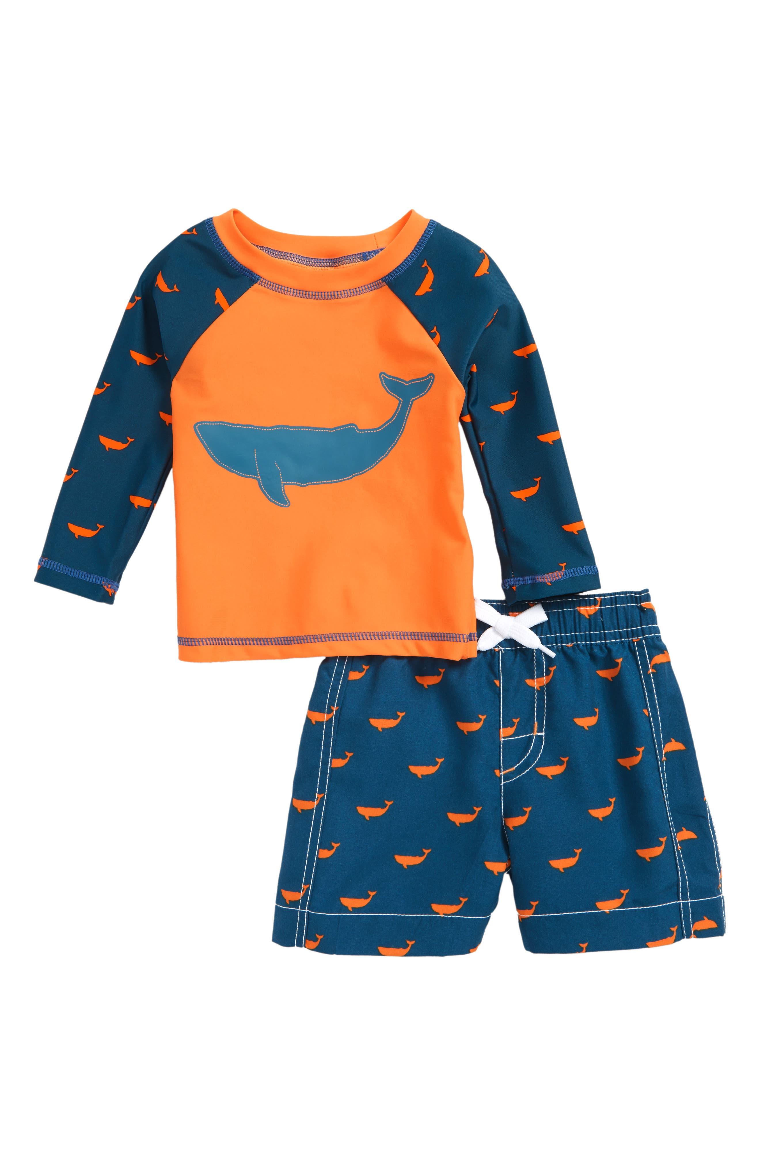 Hatley Long Sleeve Rashguard & Swim Trunks Set (Baby Boys)