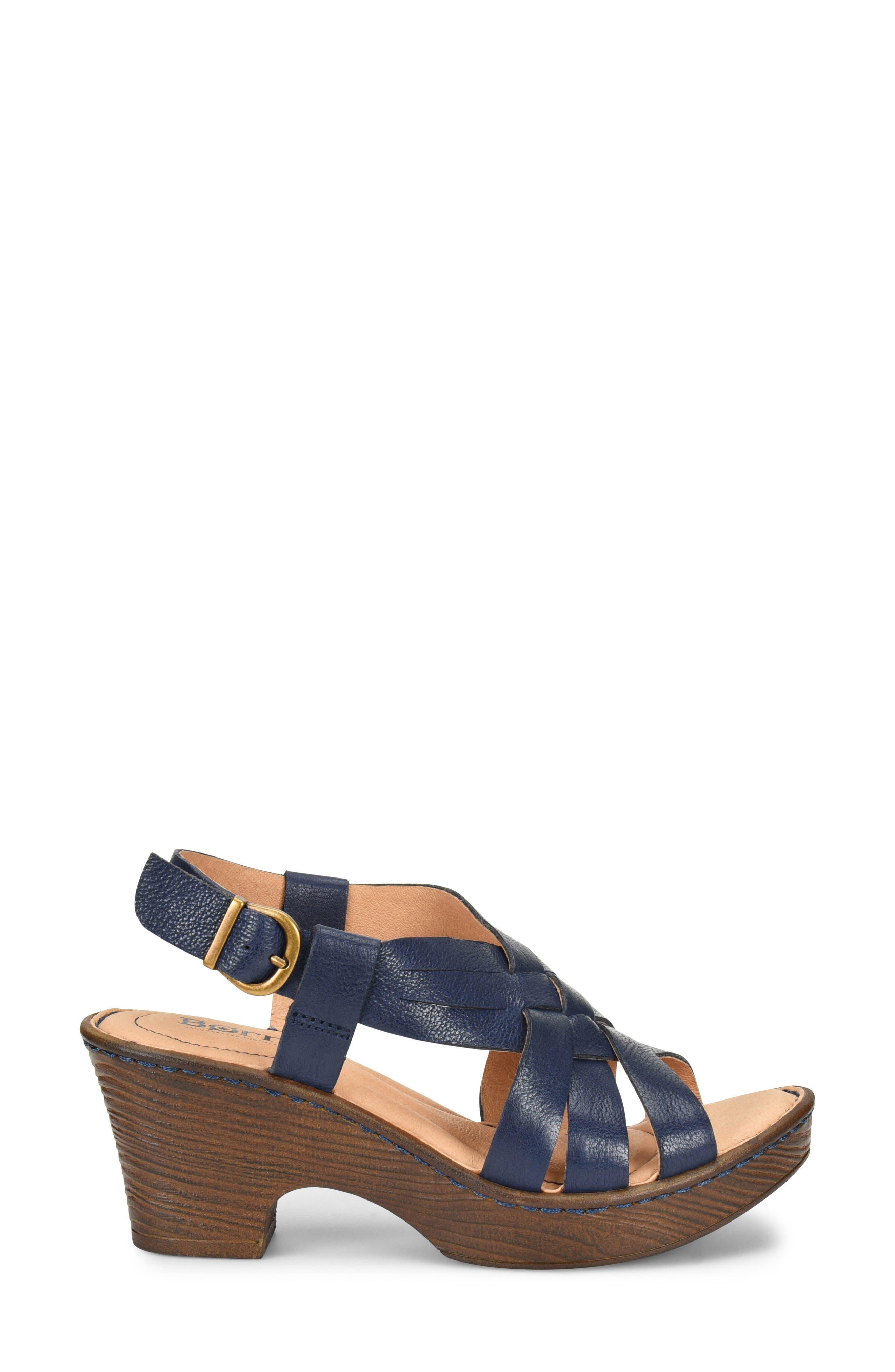 Crevalle Platform Sandal,                             Alternate thumbnail 3, color,                             Navy Leather