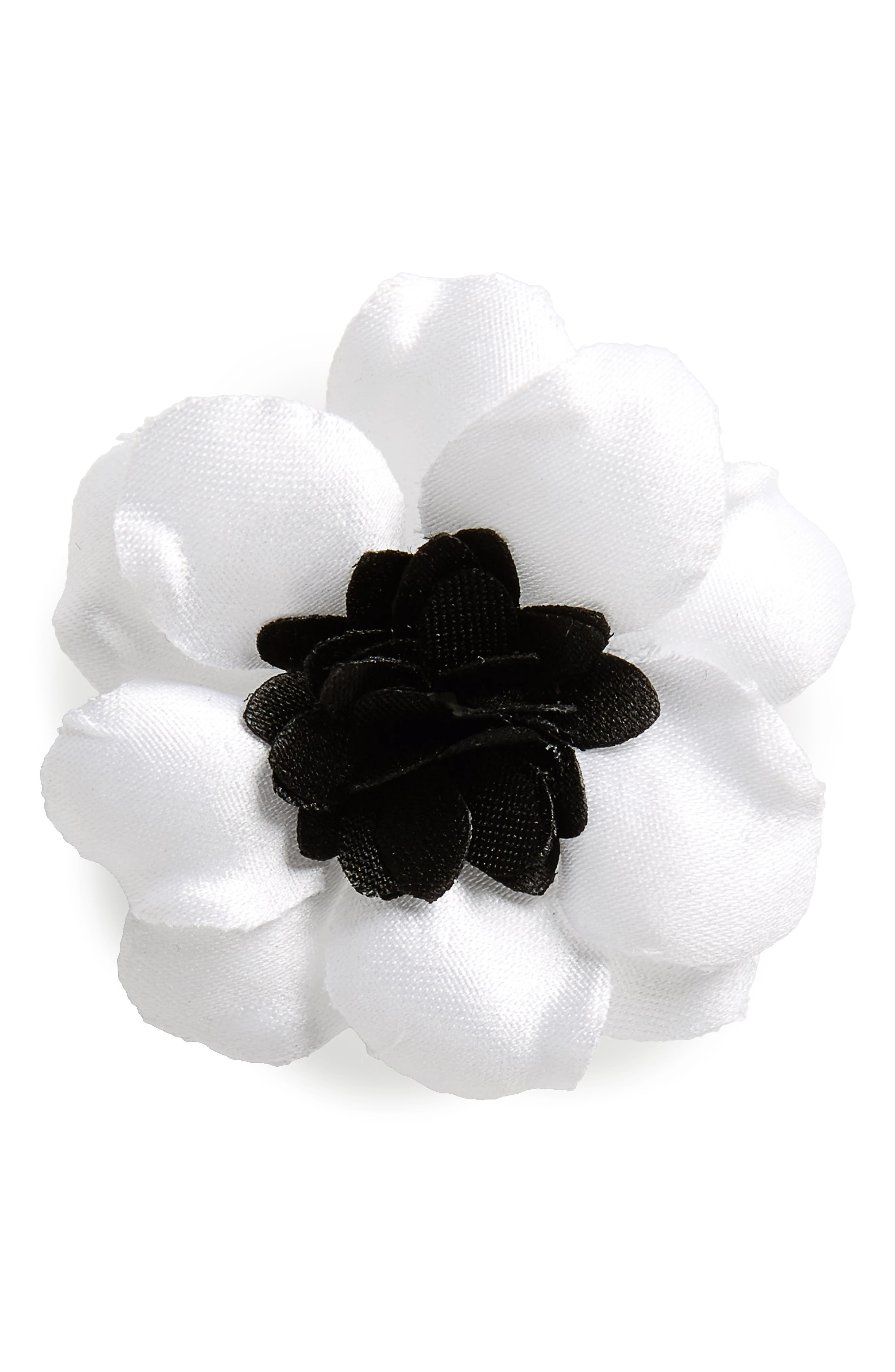Henry Satin Lapel Flower,                             Main thumbnail 1, color,                             White With Navy
