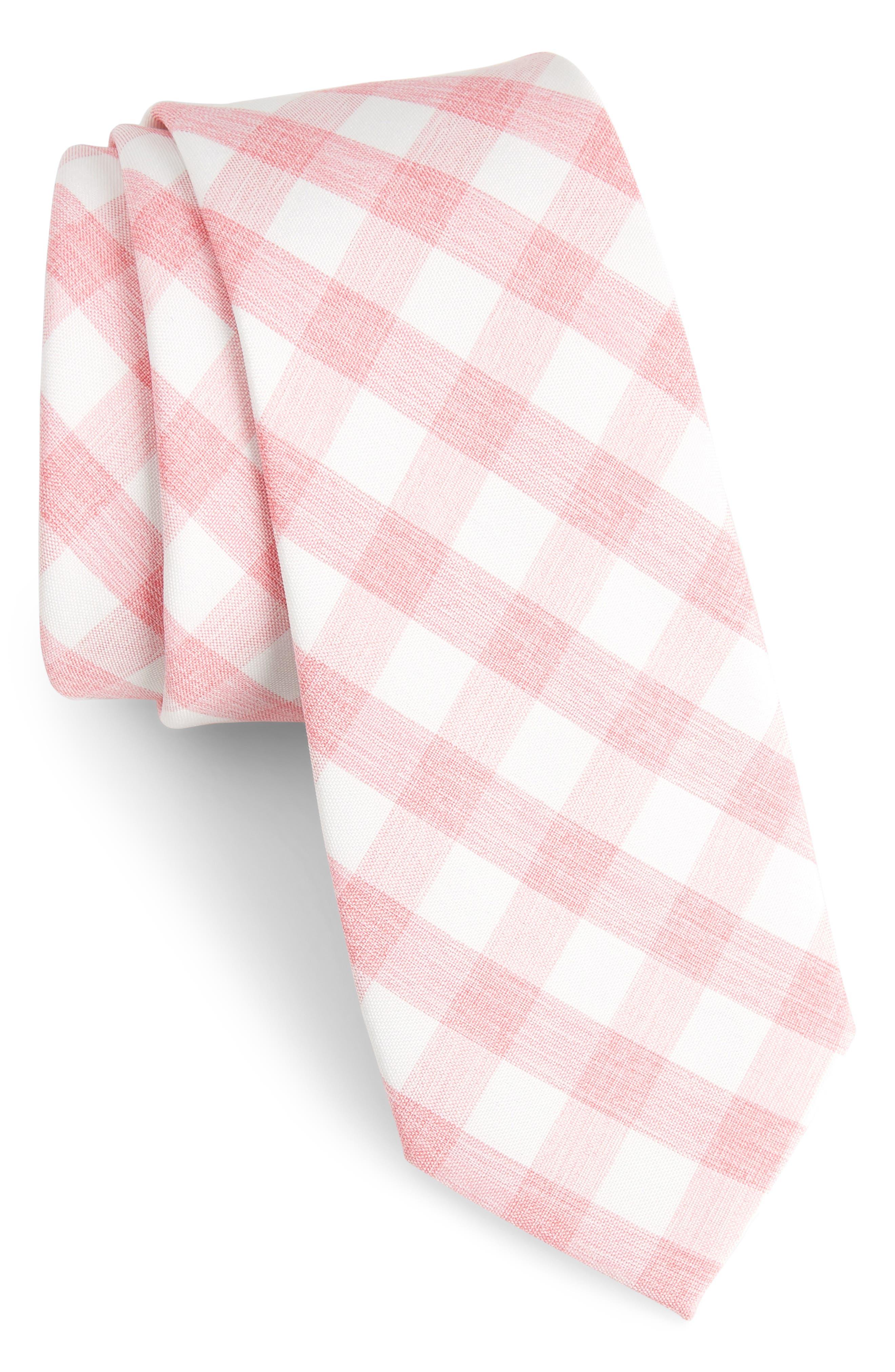 Larkin Check Cotton Tie,                         Main,                         color, Pink