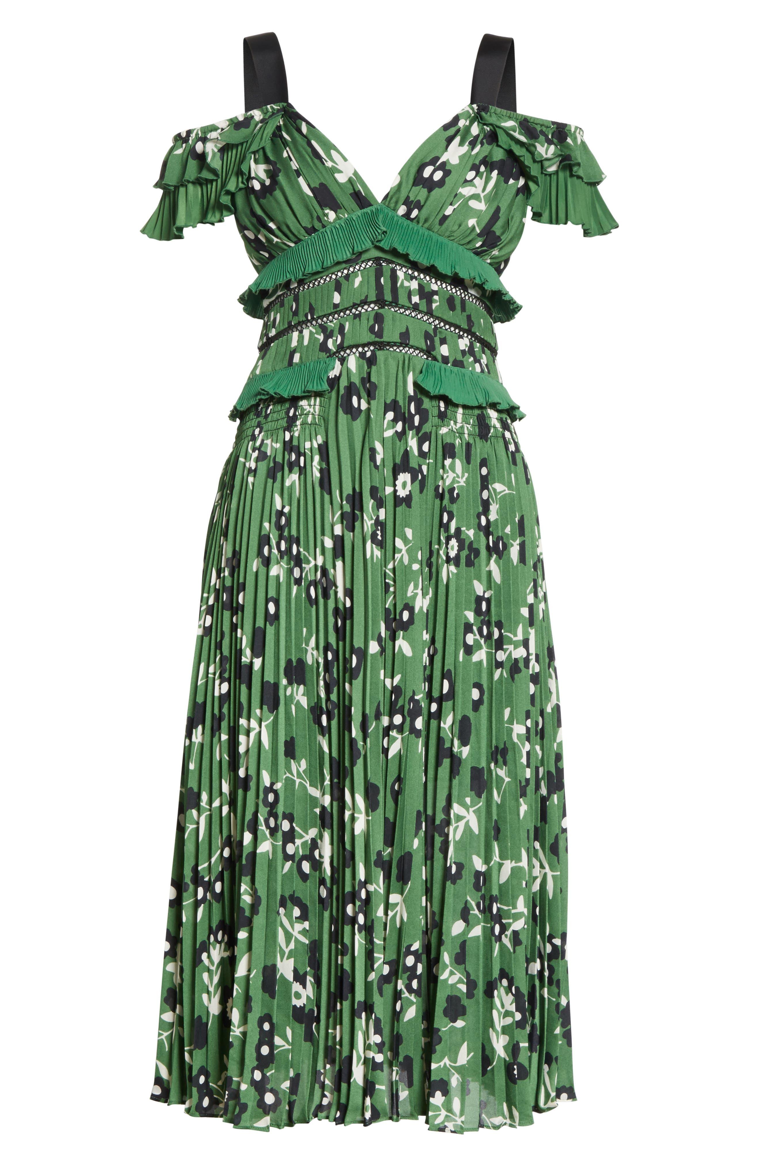 Floral Print Cold Shoulder Dress,                             Alternate thumbnail 6, color,                             Green