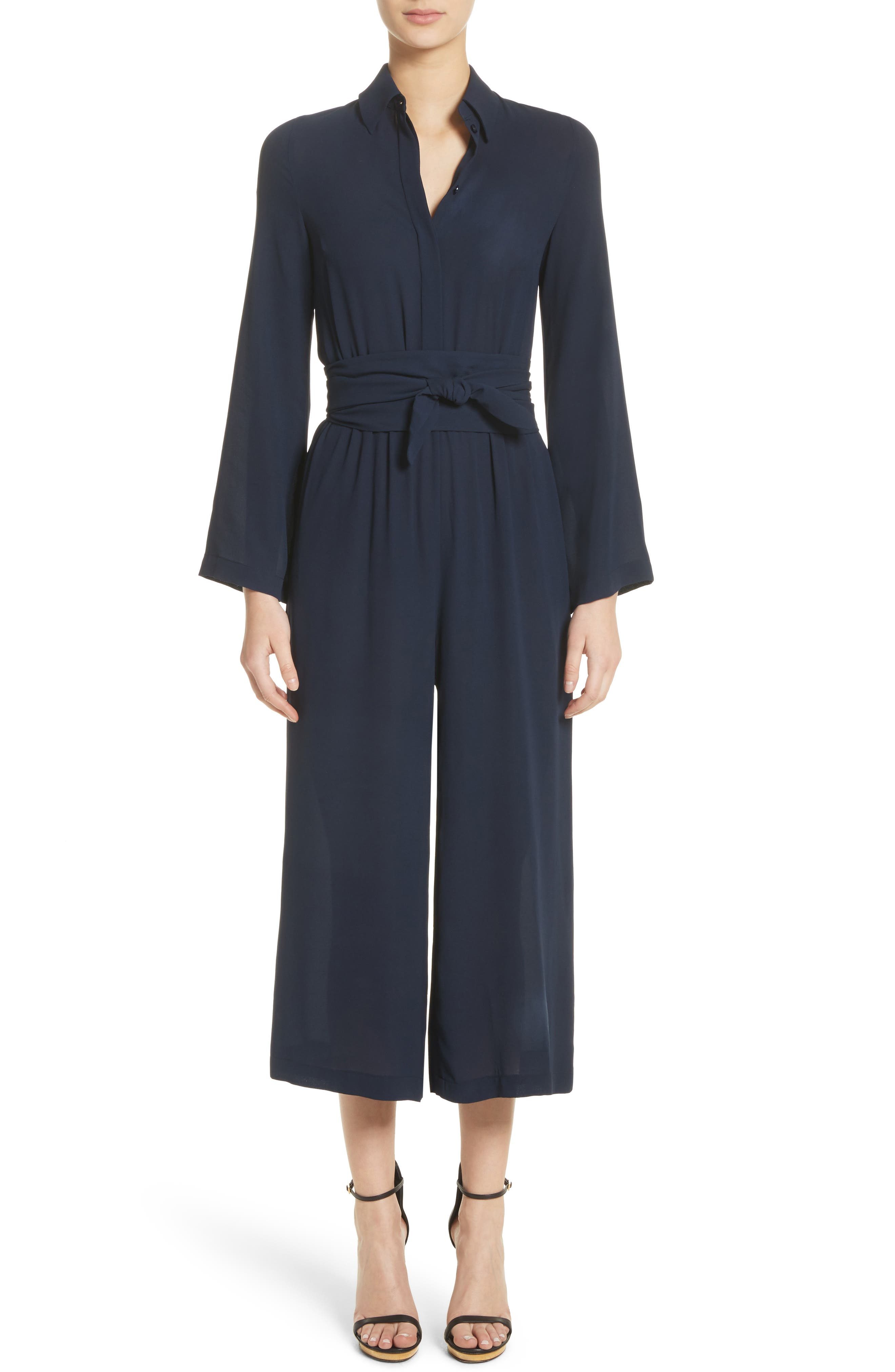Belted Silk Jumpsuit,                         Main,                         color, Maritime