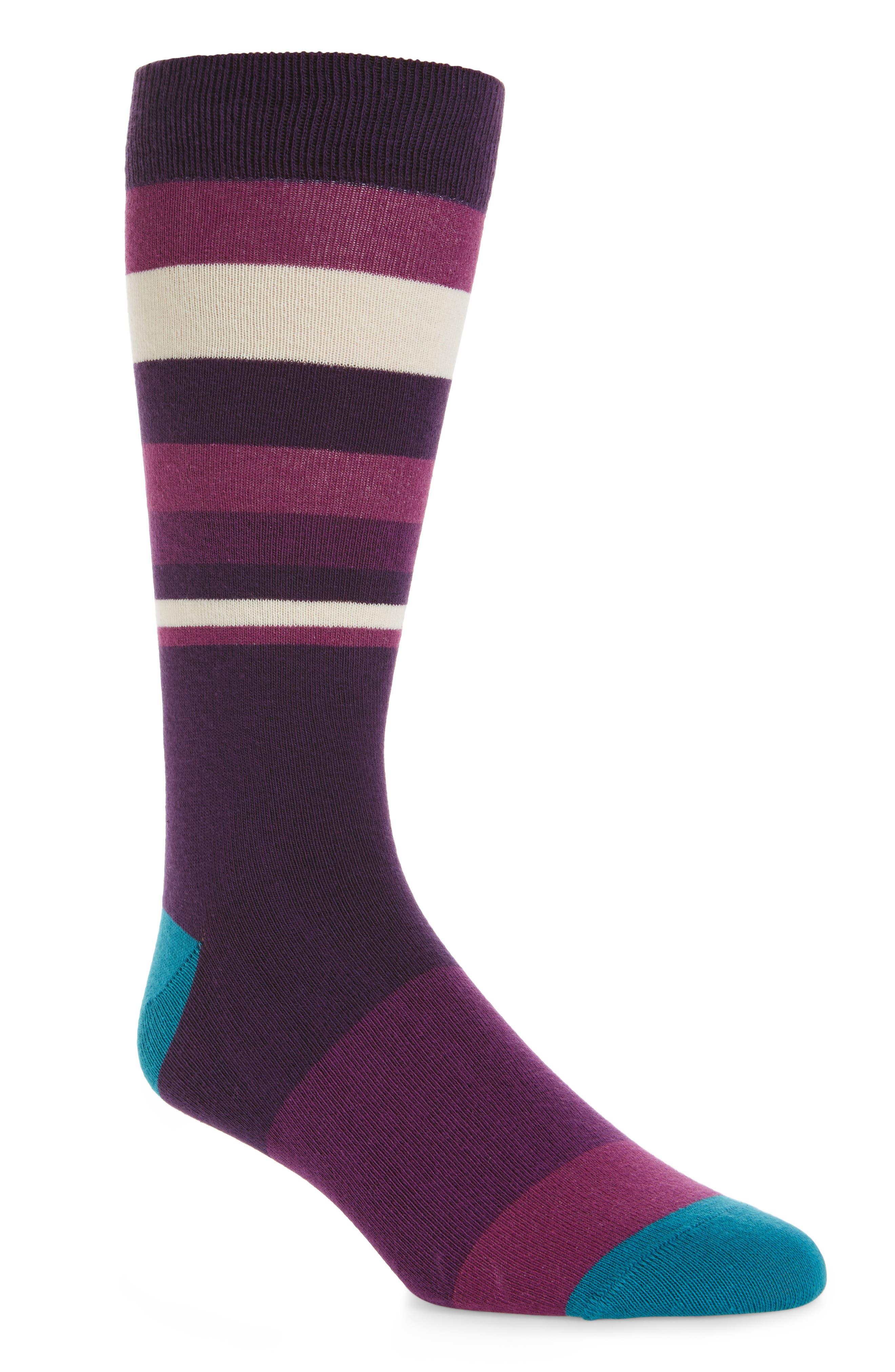 Striped Socks,                         Main,                         color, Deep Purple