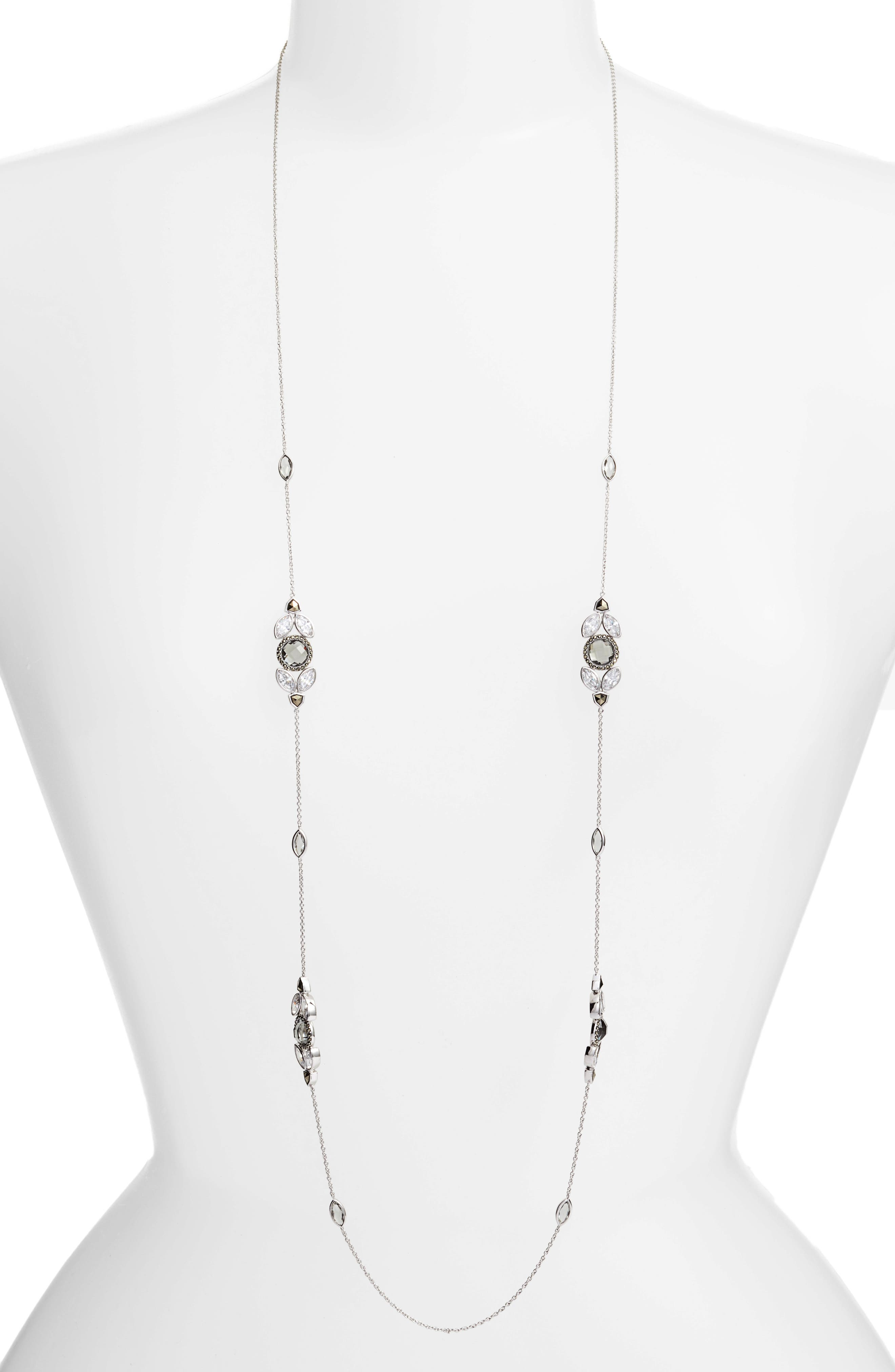 Long Strand Necklace,                         Main,                         color, Silver