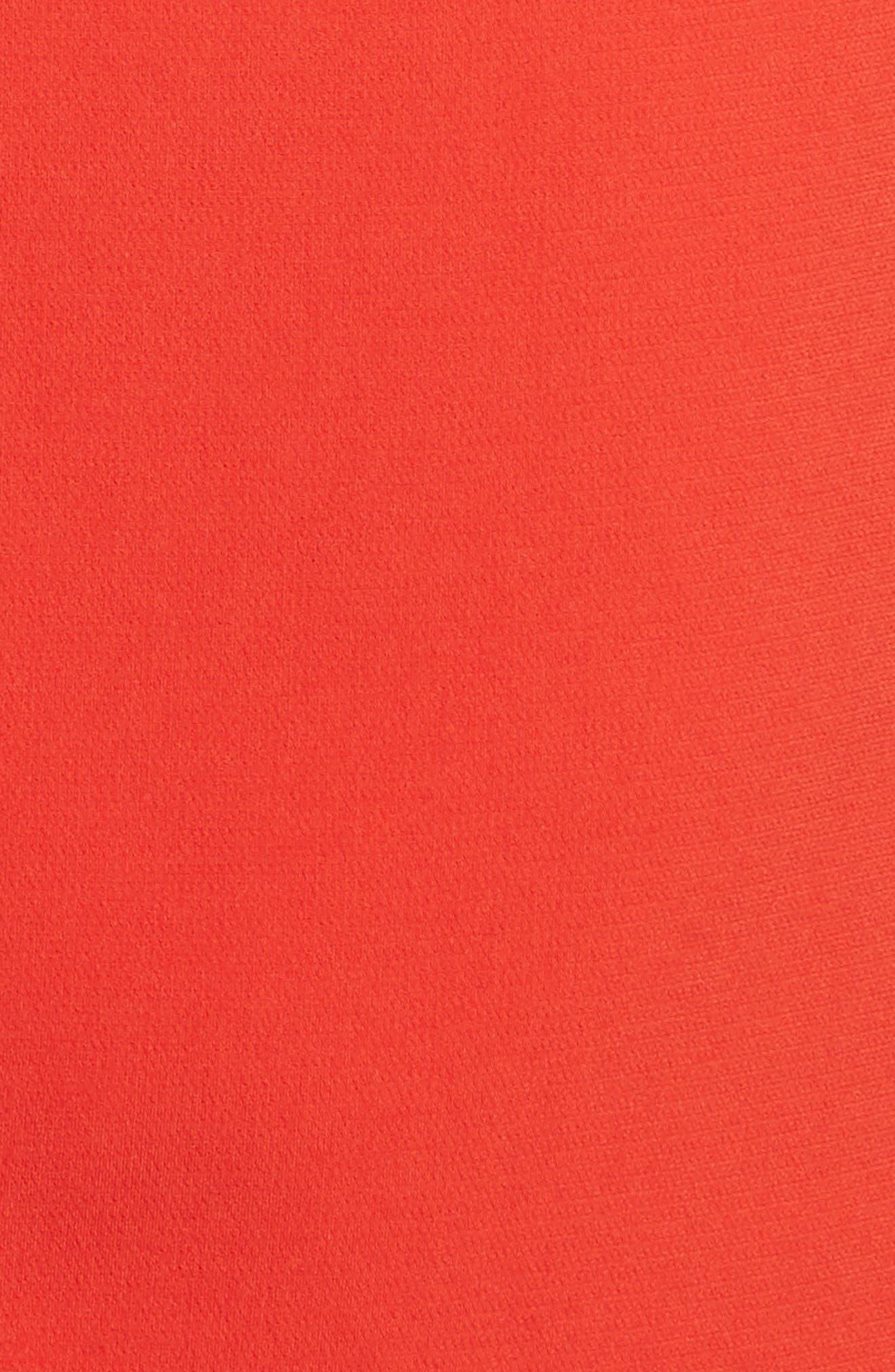 Admiral Crepe V-Neck Shift Dress,                             Alternate thumbnail 5, color,                             Bright Tomato