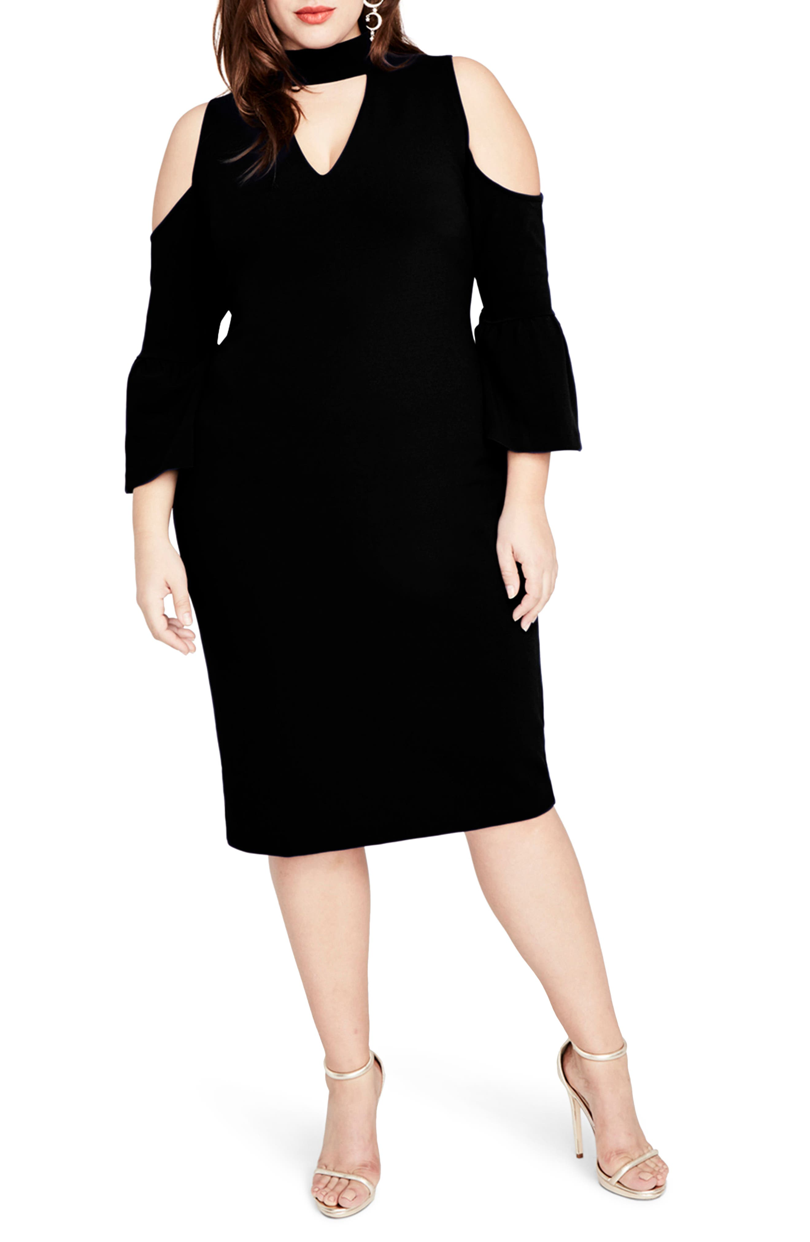 Cold Shoulder Choker Neck Dress,                             Main thumbnail 1, color,                             Black